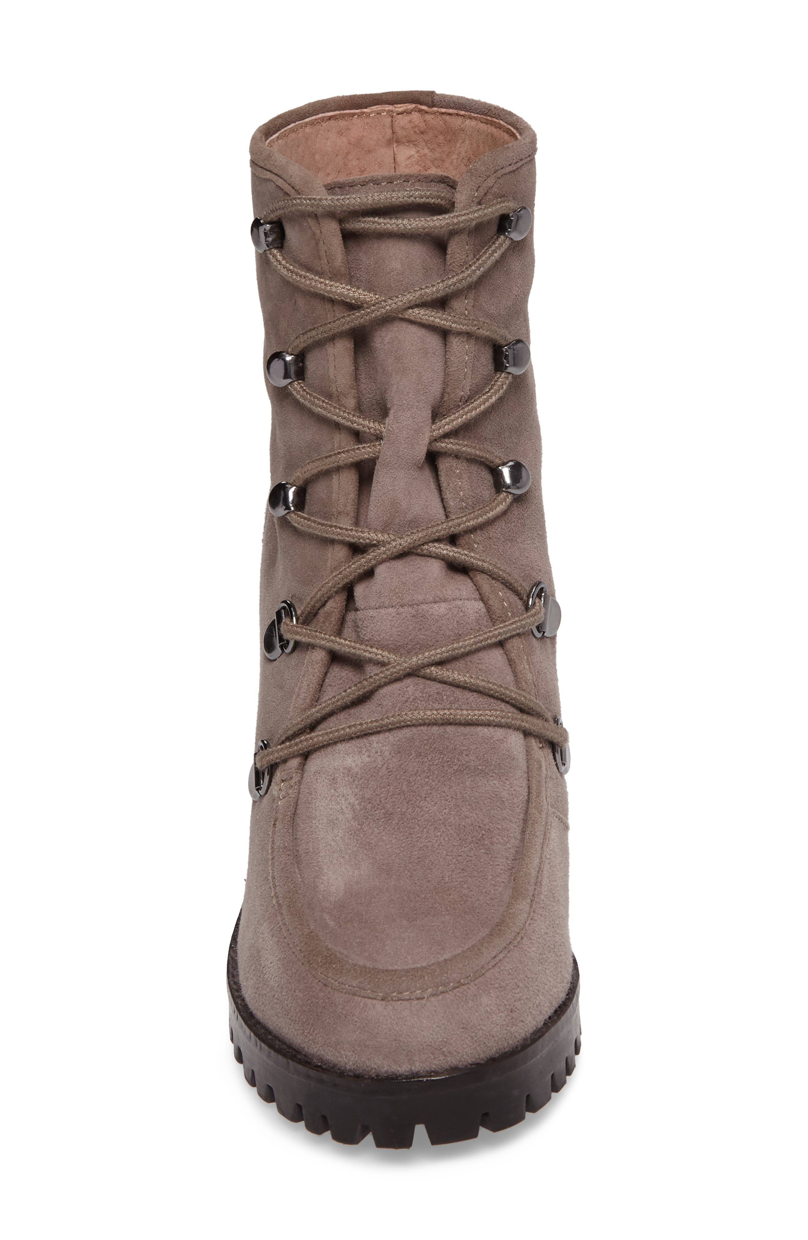 Theater Lace-Up Bootie,                             Alternate thumbnail 4, color,                             Taupe Suede