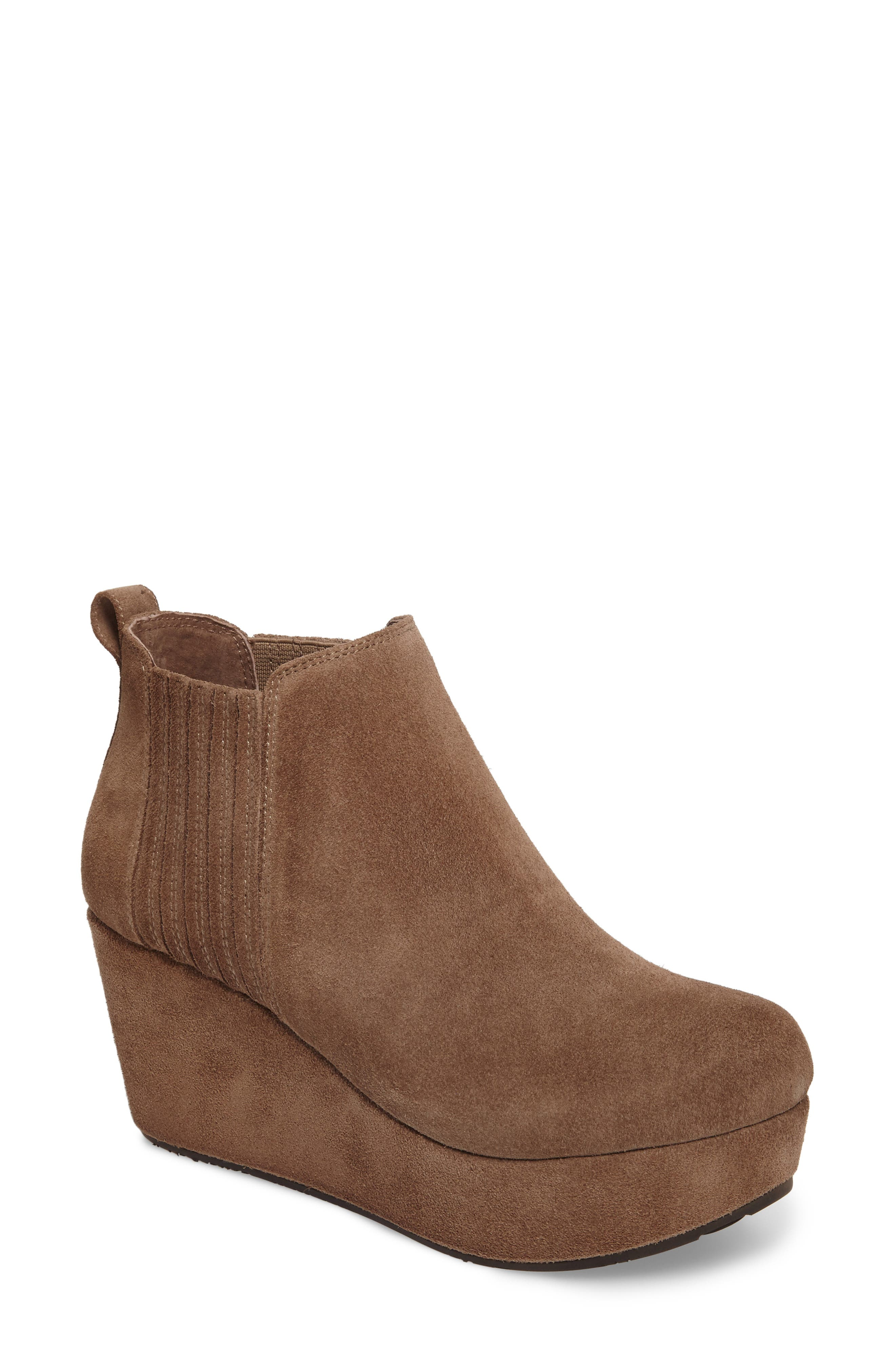 Walden Wedge Bootie,                             Main thumbnail 1, color,                             Taupe Suede