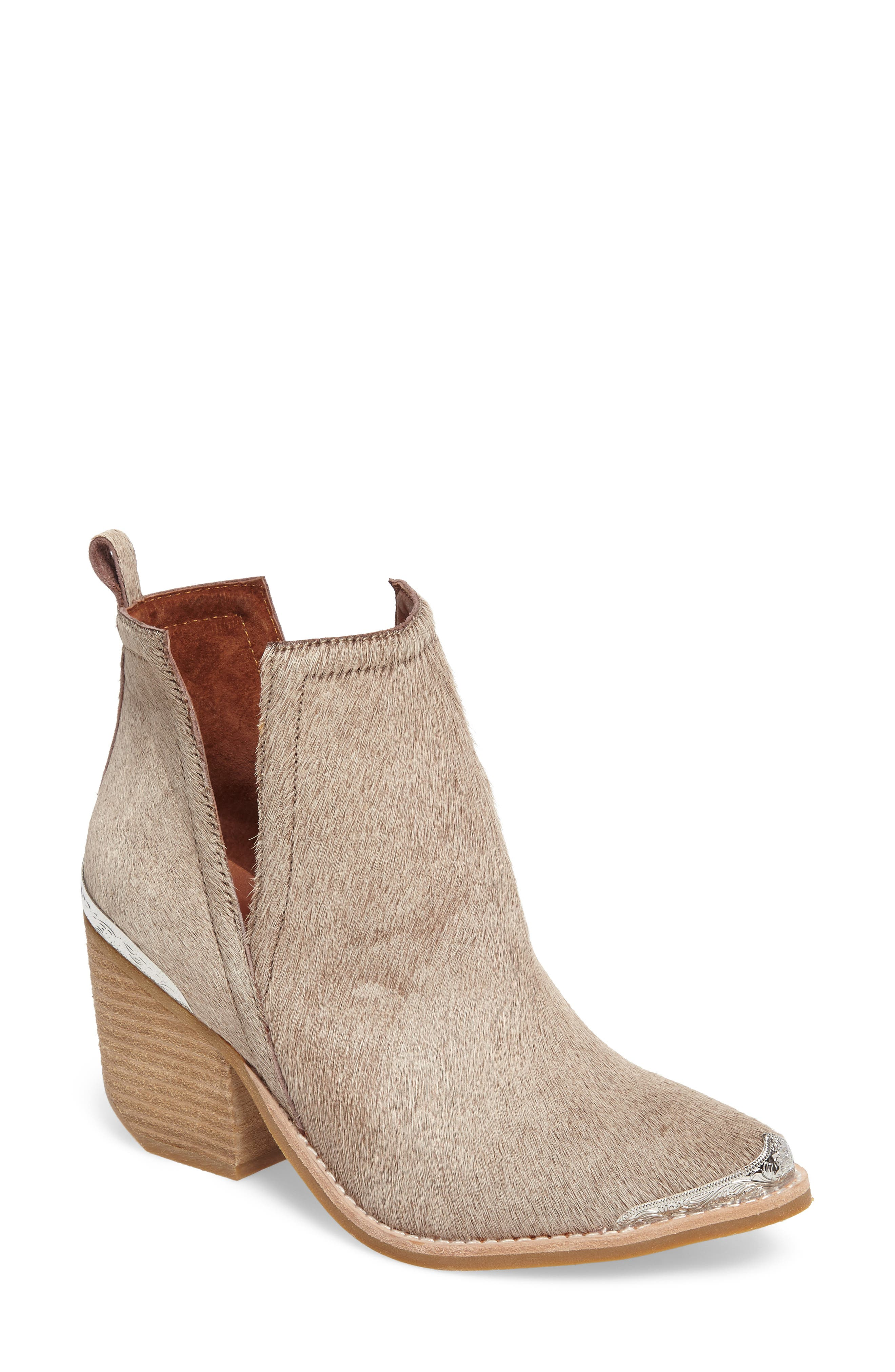 Alternate Image 1 Selected - Jeffrey Campbell Cromwell Cutout Genuine Calf Hair Western Boot (Women)