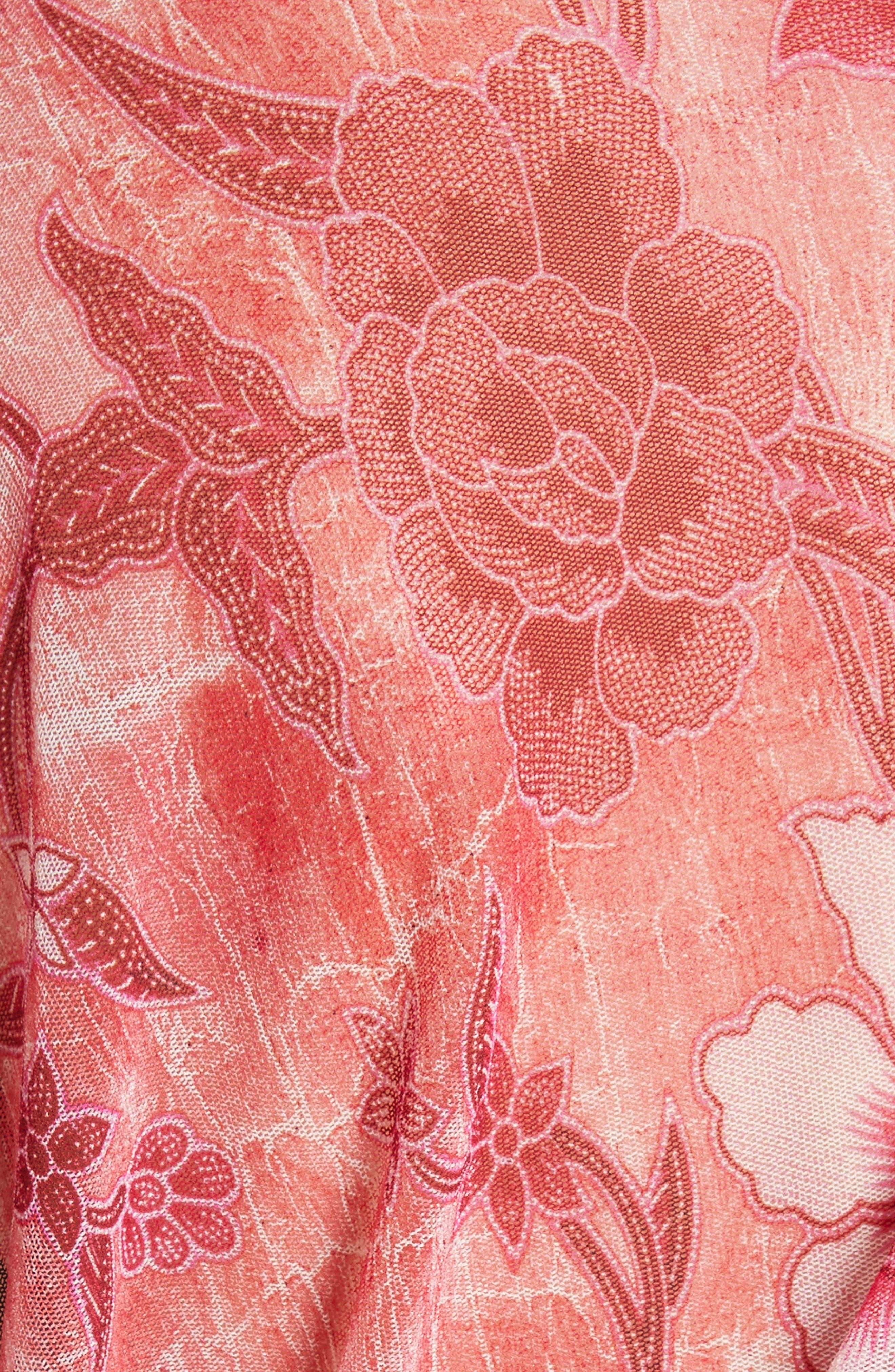 Alternate Image 5  - Fuzzi Print Tulle Handkerchief Hem Shawl Top