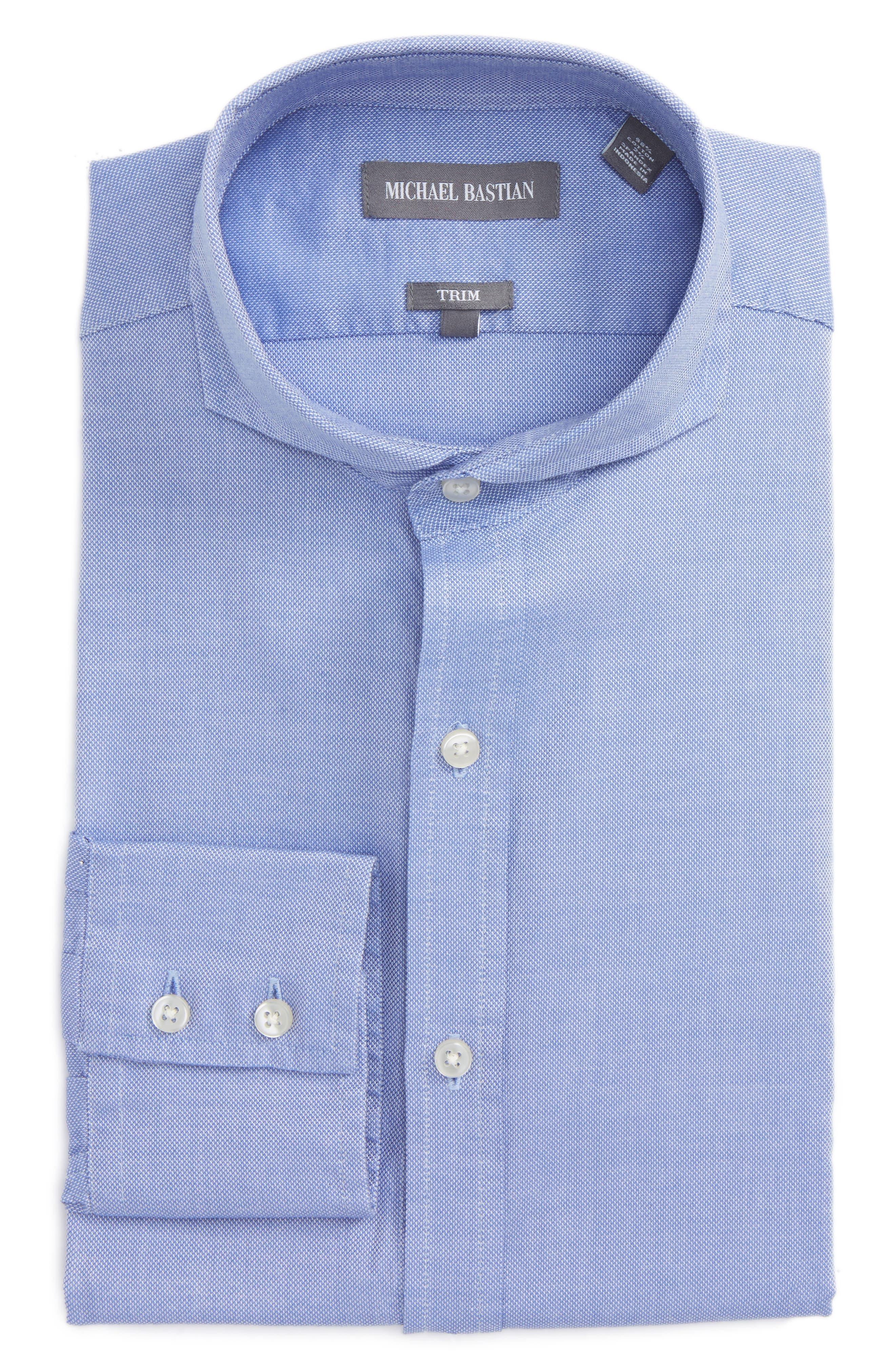 Trim Fit Oxford Dress Shirt,                         Main,                         color, Blue