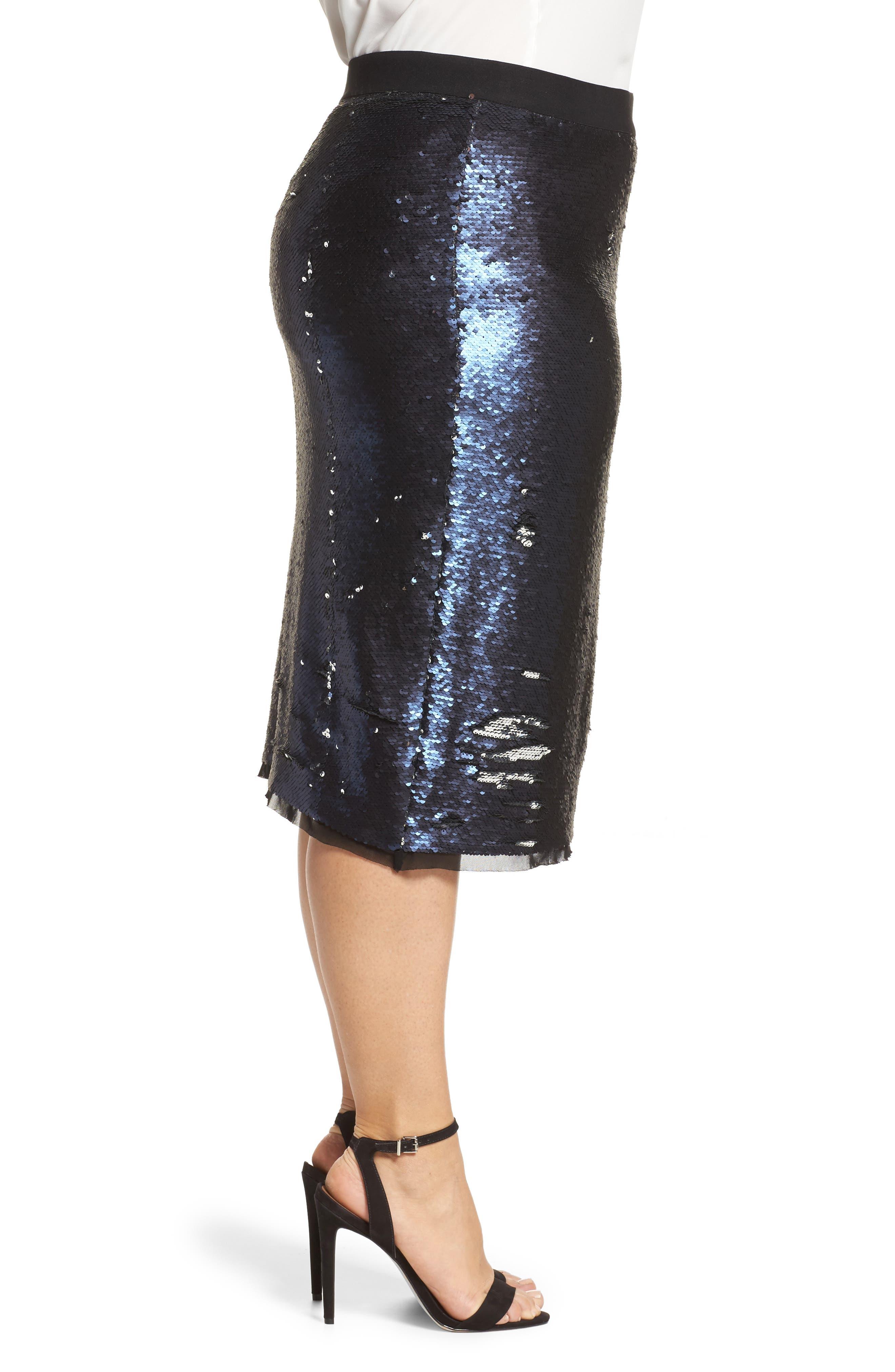 Alternate Image 3  - Rebel Wilson x Angels Sequin Mesh Pencil Skirt (Plus Size)