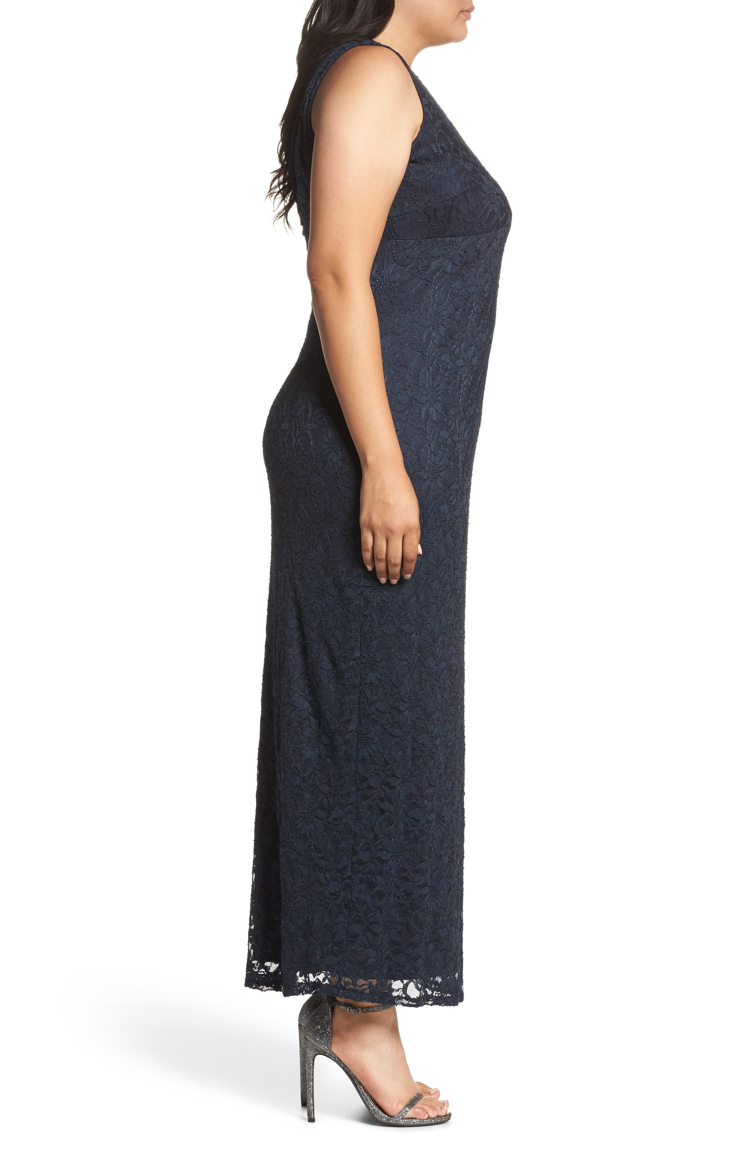 Alternate Image 3  - Marina Cutout Back Lace Empire Gown (Plus Size)
