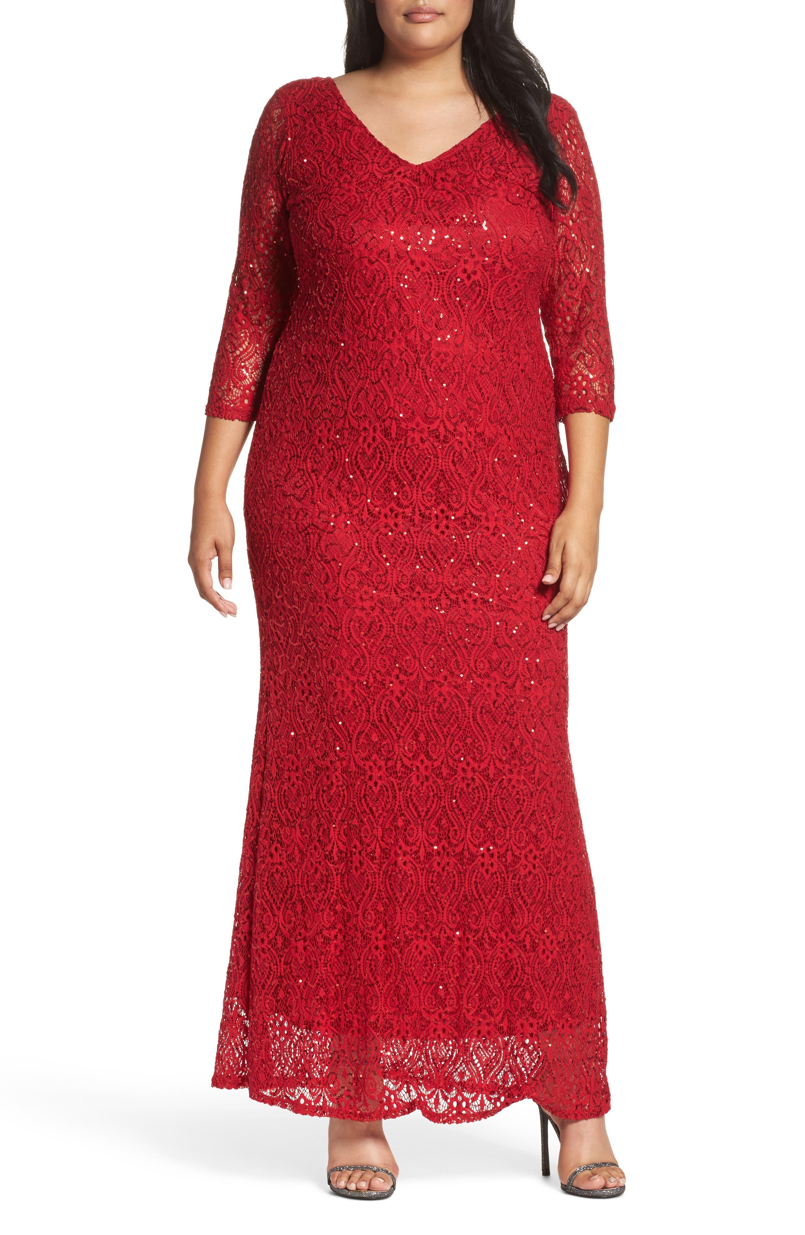 Marina Sequin Lace A-Line Gown (Plus Size)