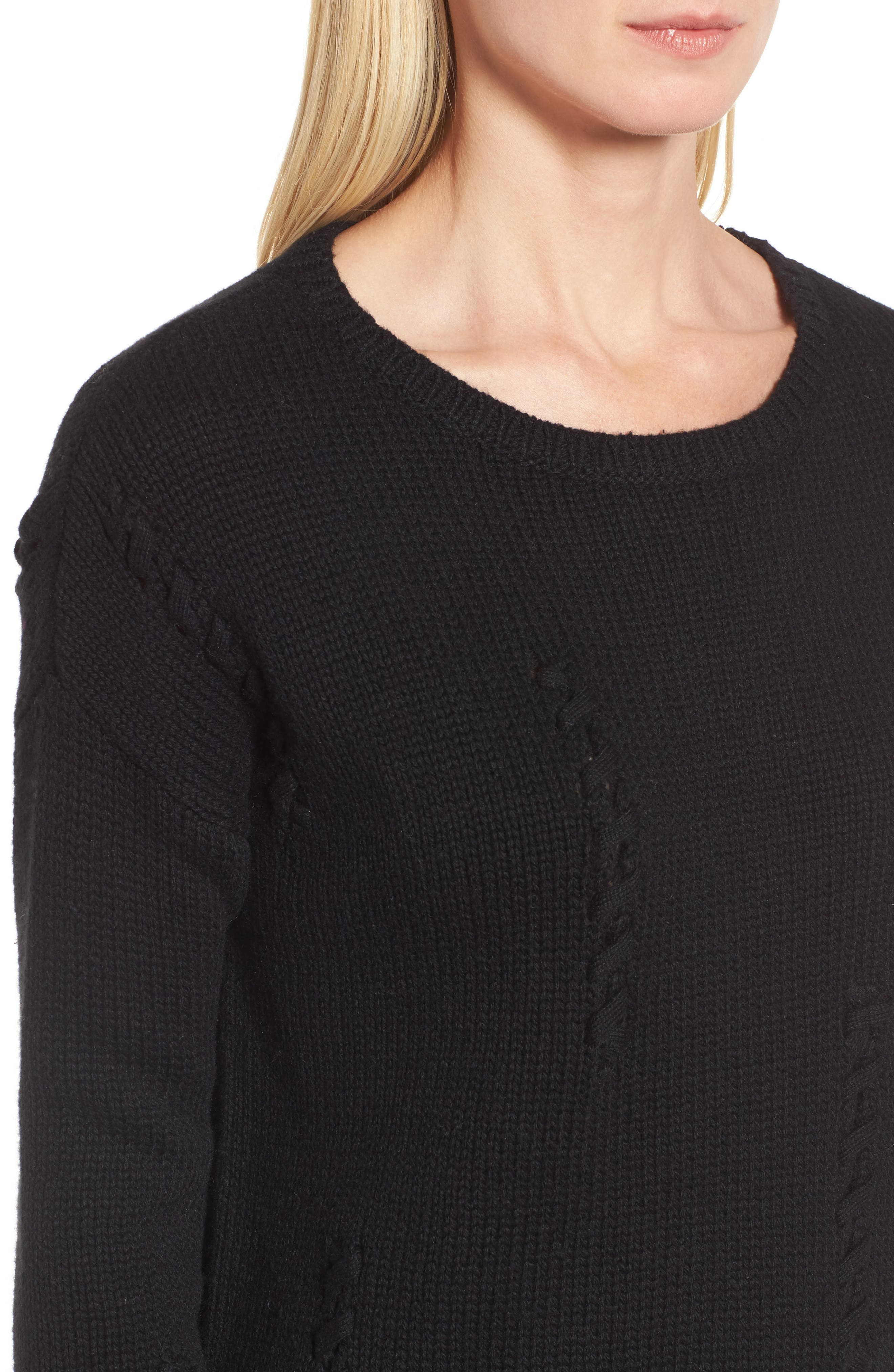 Whipstitch Detail Sweater,                             Alternate thumbnail 4, color,                             Black