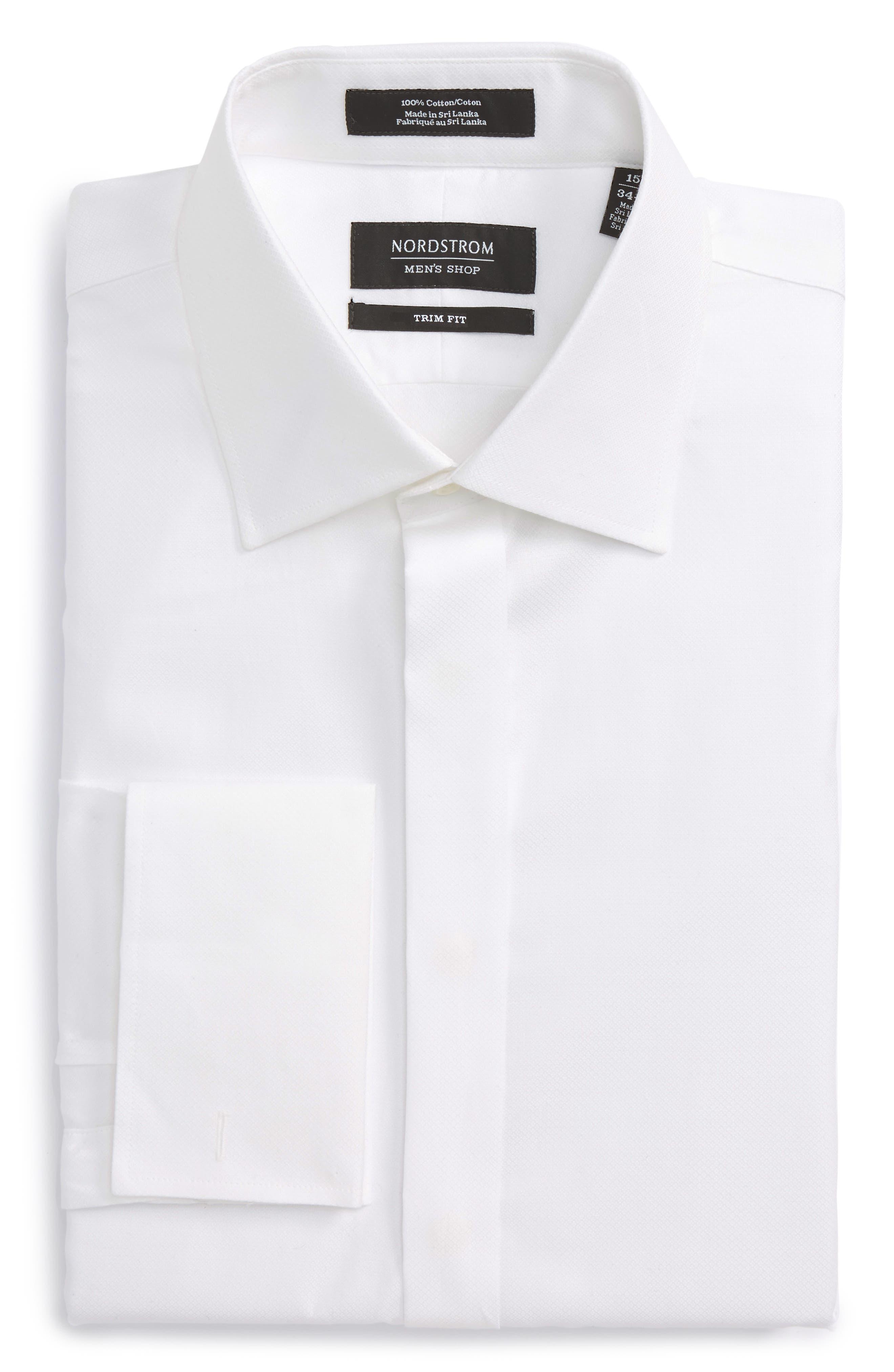 Trim Fit Tuxedo Shirt,                             Alternate thumbnail 6, color,                             White