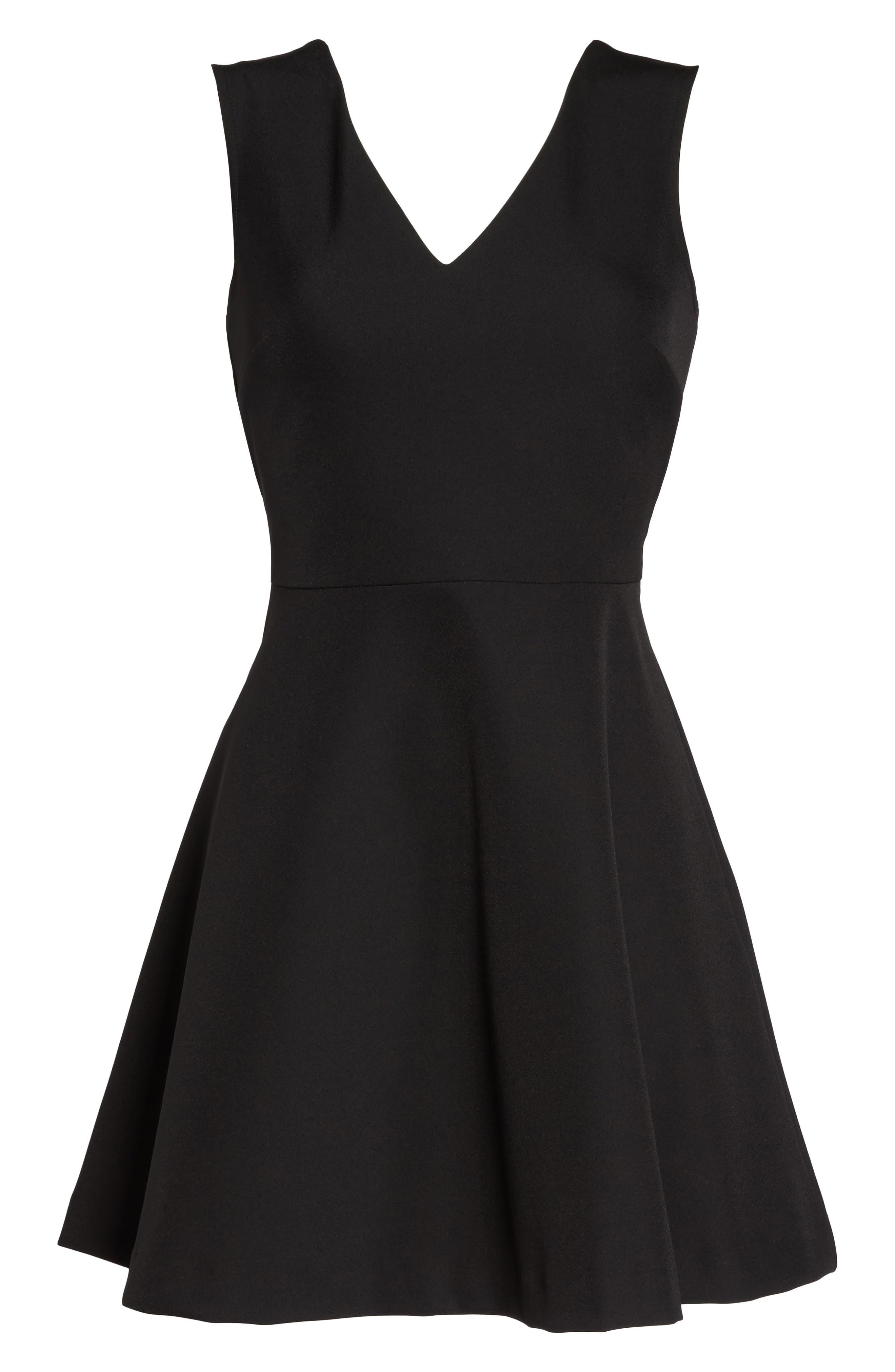 Bianca Back Cutout Fit & Flare Dress,                             Alternate thumbnail 7, color,                             Black