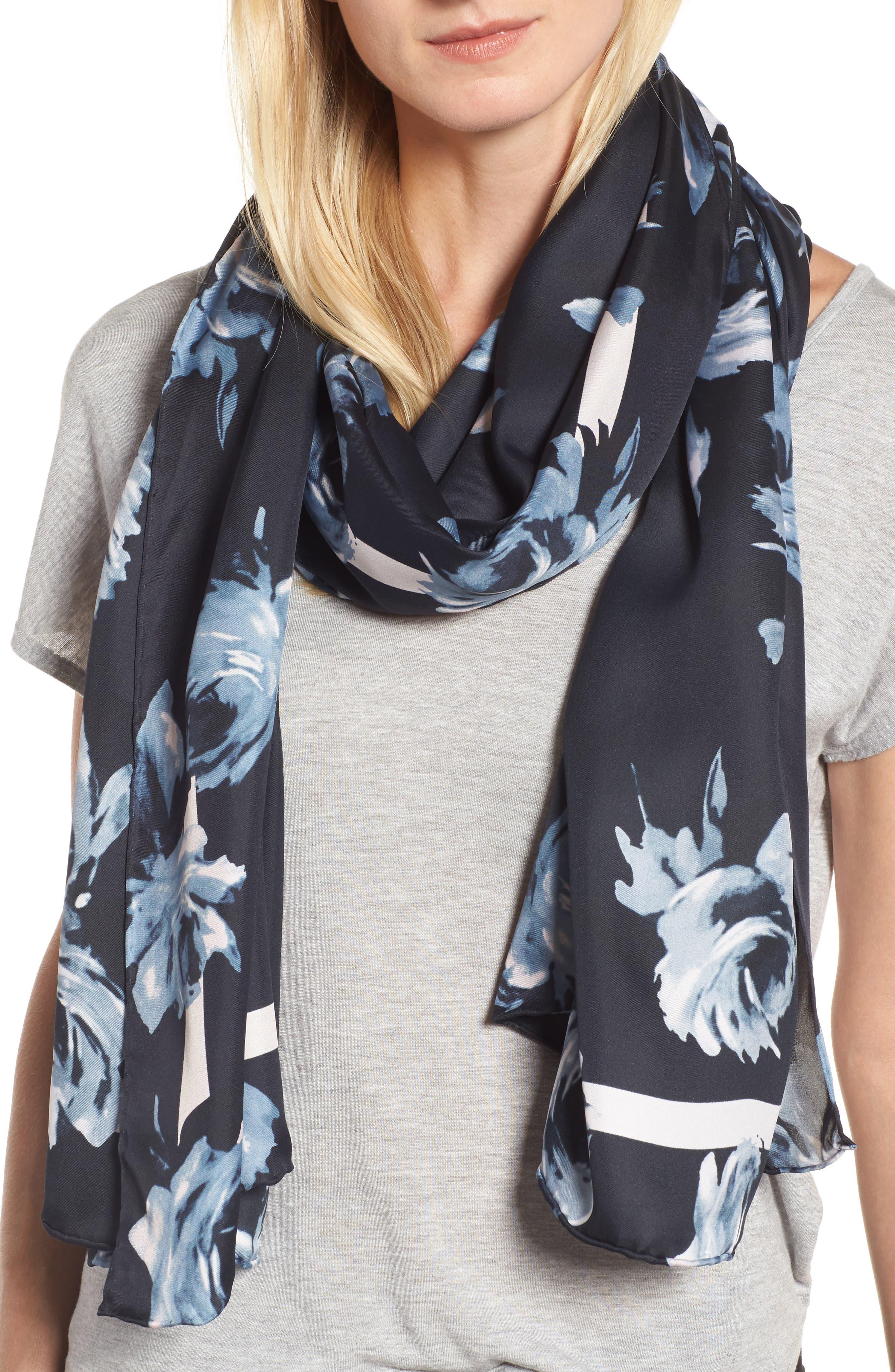 night rose silk oblong scarf,                             Main thumbnail 1, color,                             Rich Navy