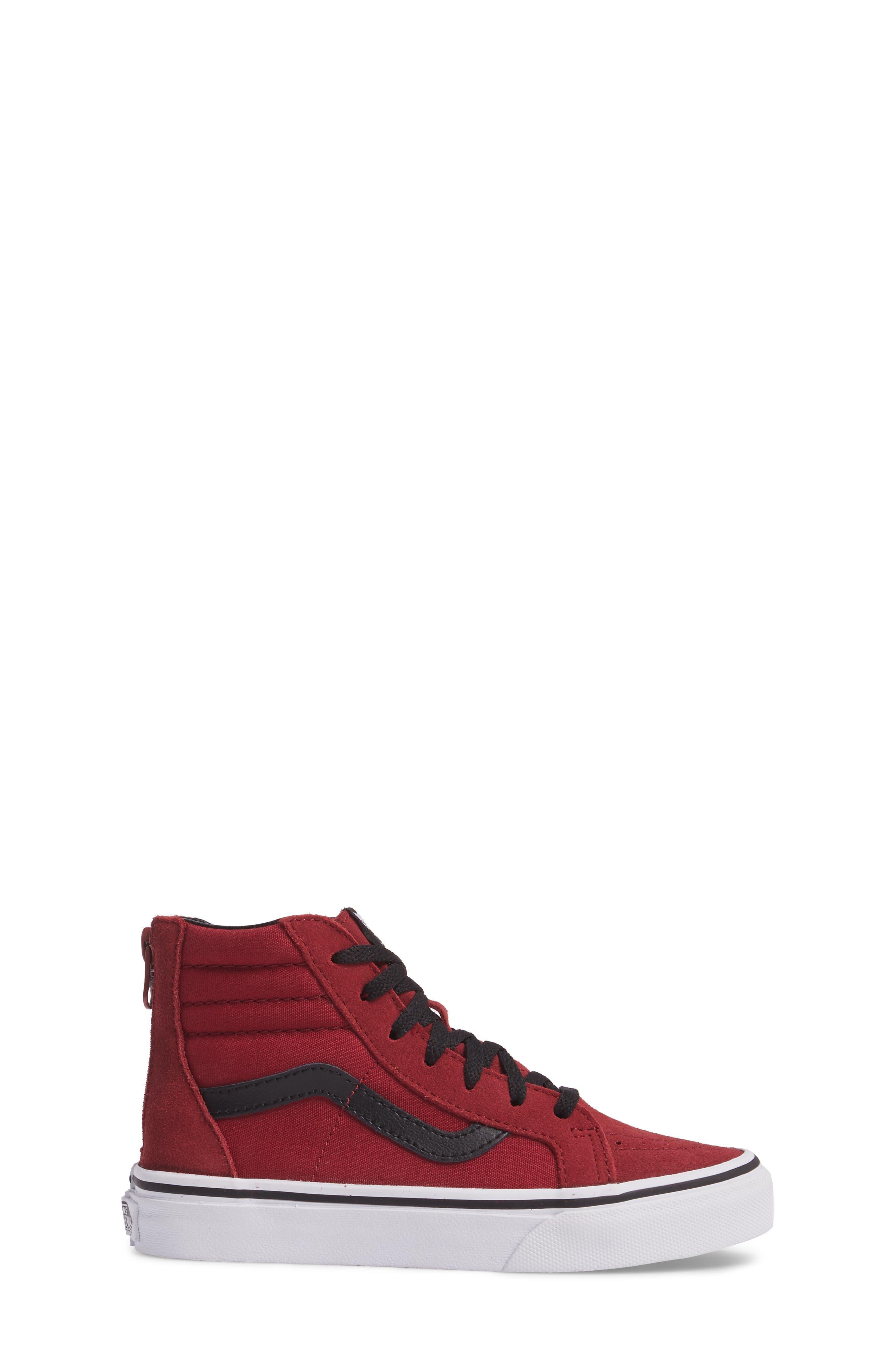 SK8-Hi Zip Sneaker,                             Alternate thumbnail 3, color,                             Tibetan Red/ Black