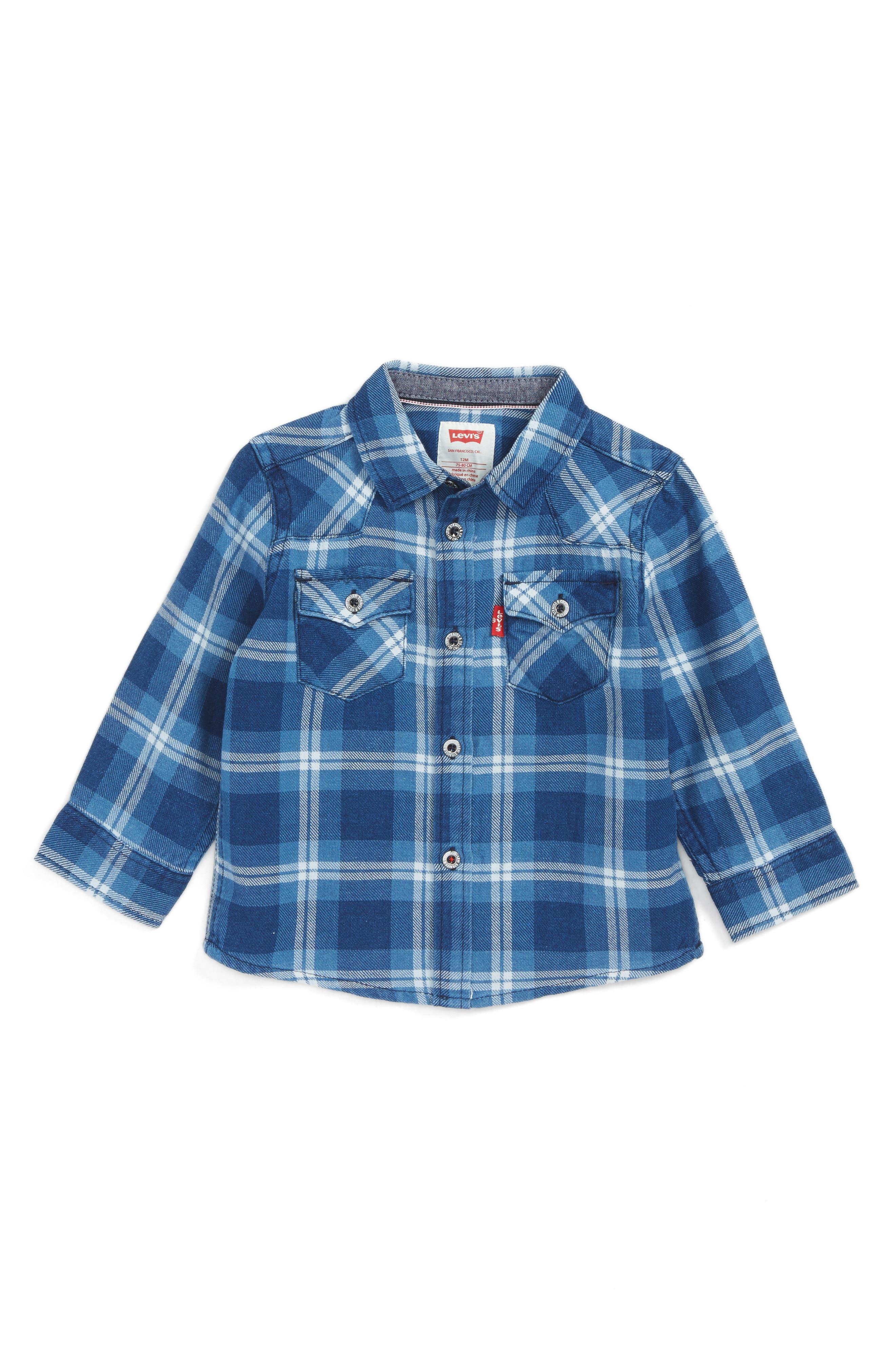 Barstow Plaid Shirt,                         Main,                         color, Blue/ Marshmallow