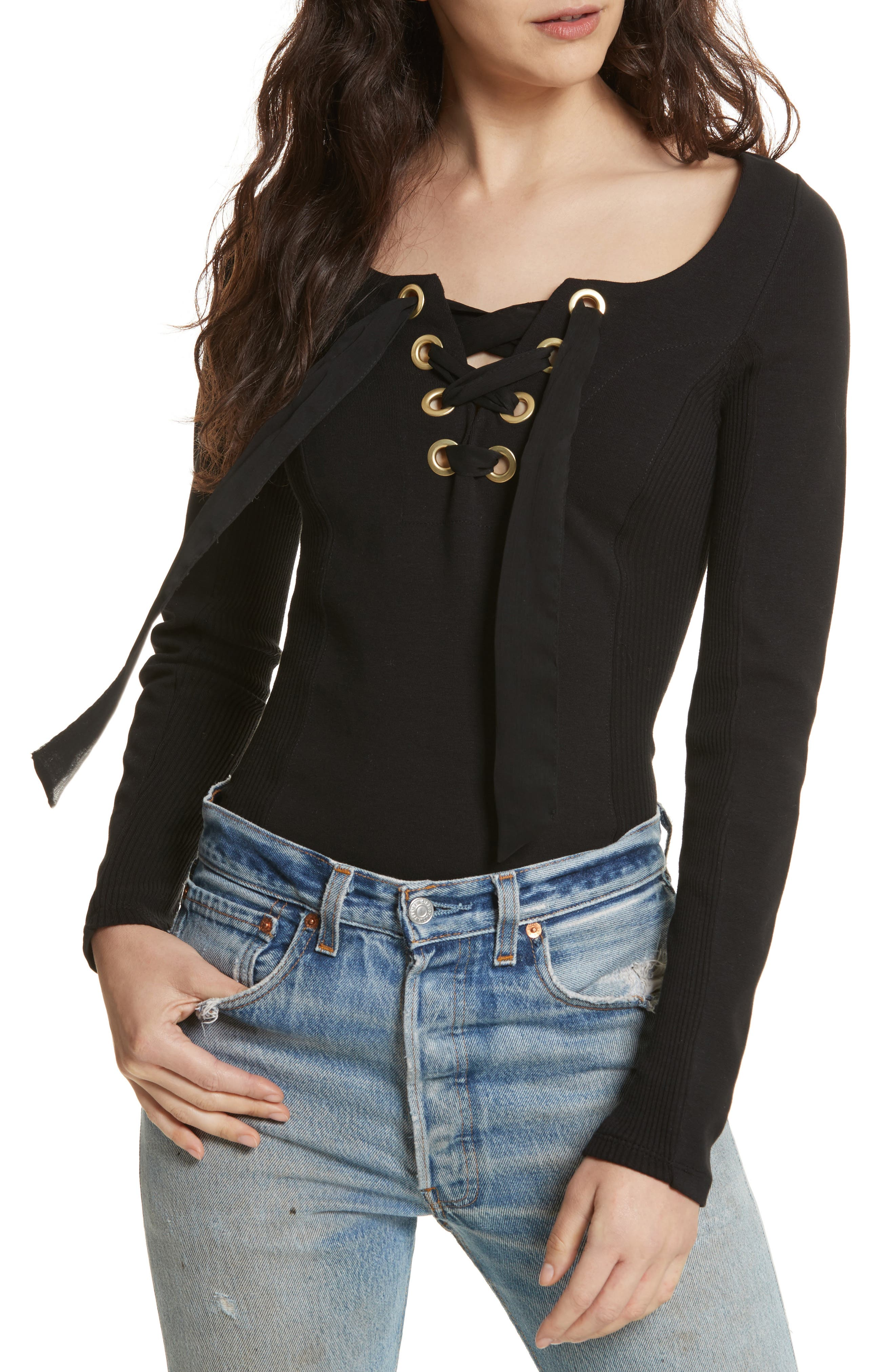 Looking Back Lace-Up Top,                         Main,                         color, Black