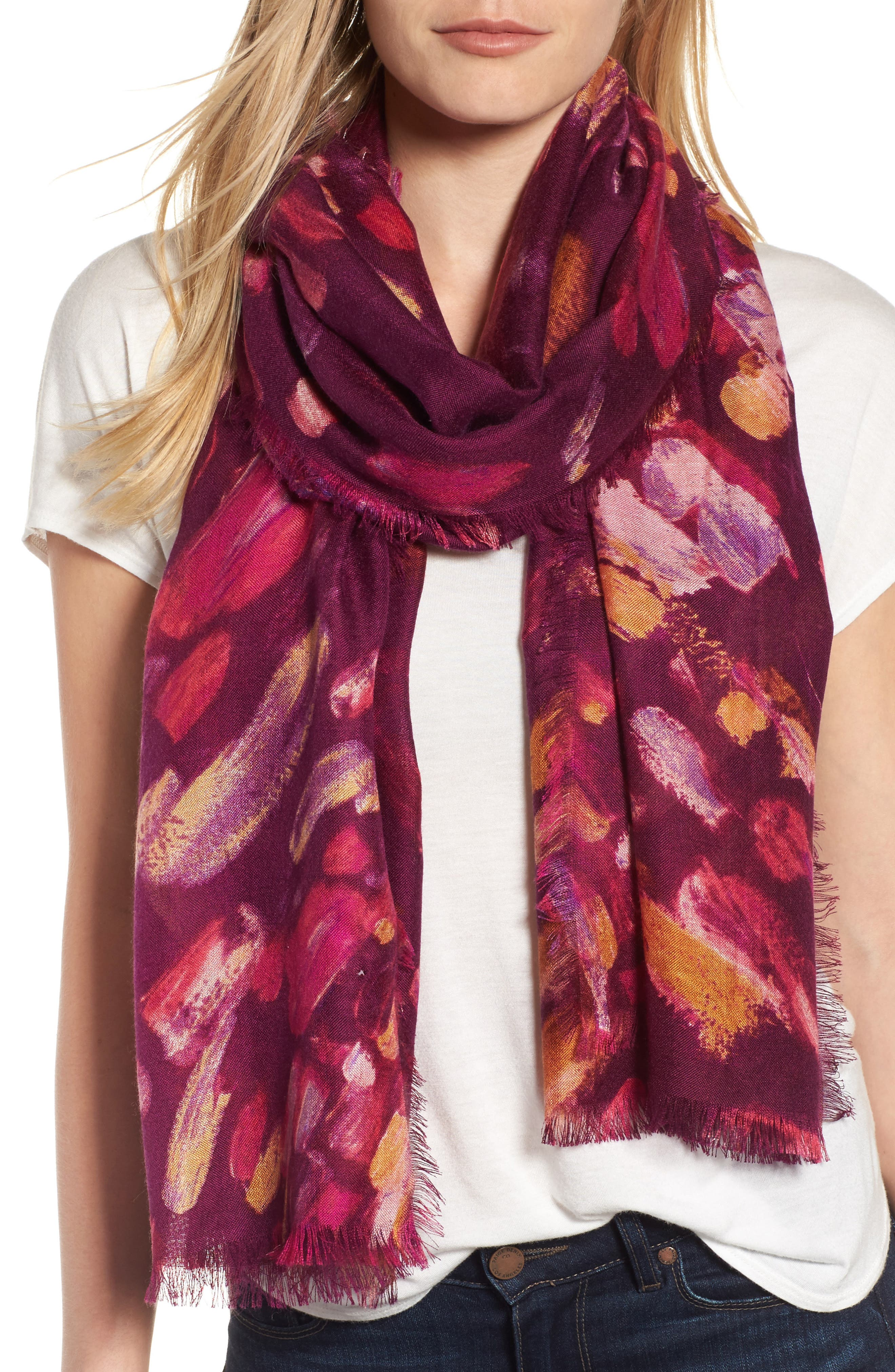 Impressionist Dots Cashmere & Silk Scarf,                             Main thumbnail 1, color,                             Burgundy Combo