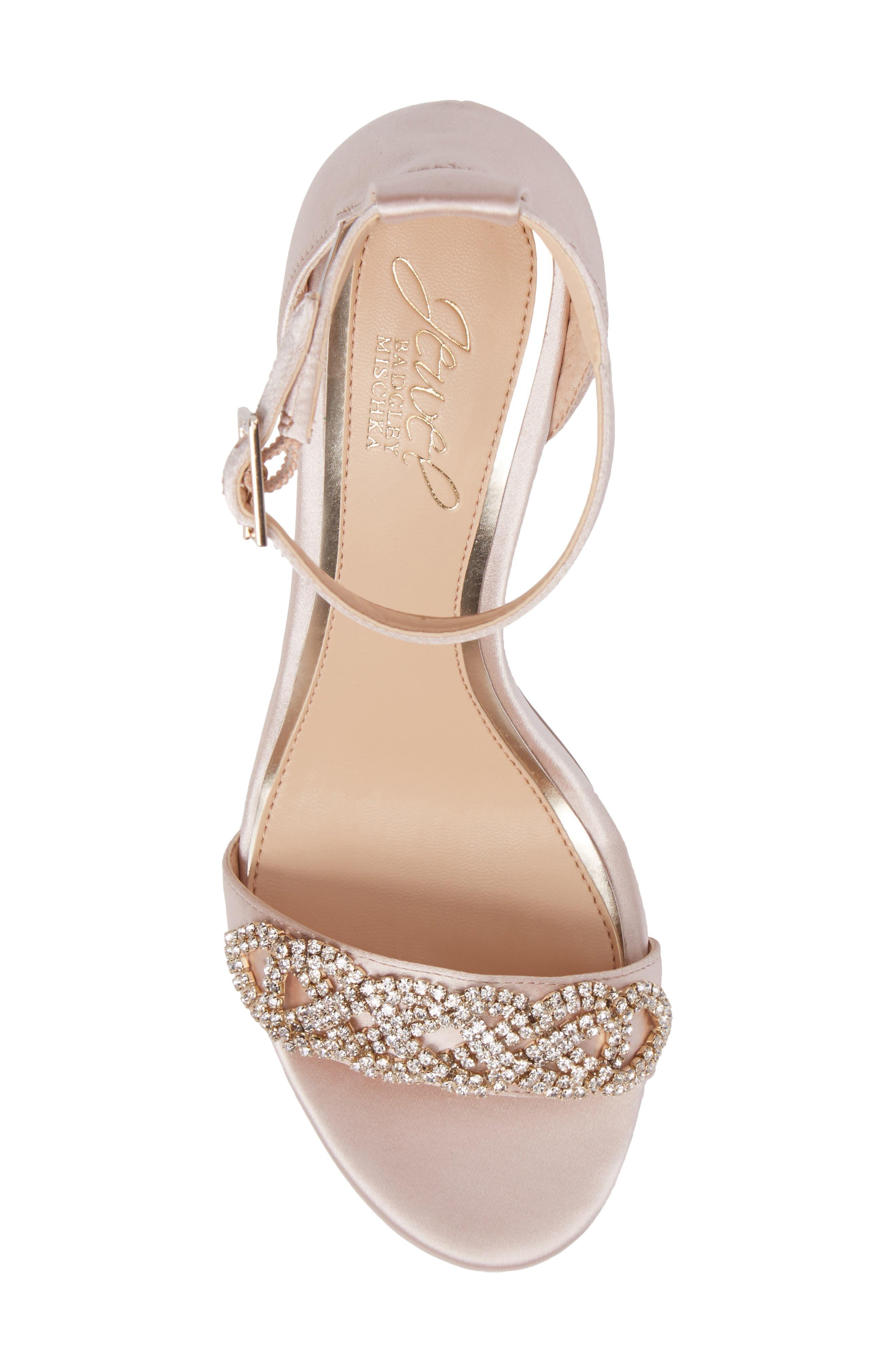 Alana Ankle Strap Sandal,                             Alternate thumbnail 5, color,                             Champagne Satin