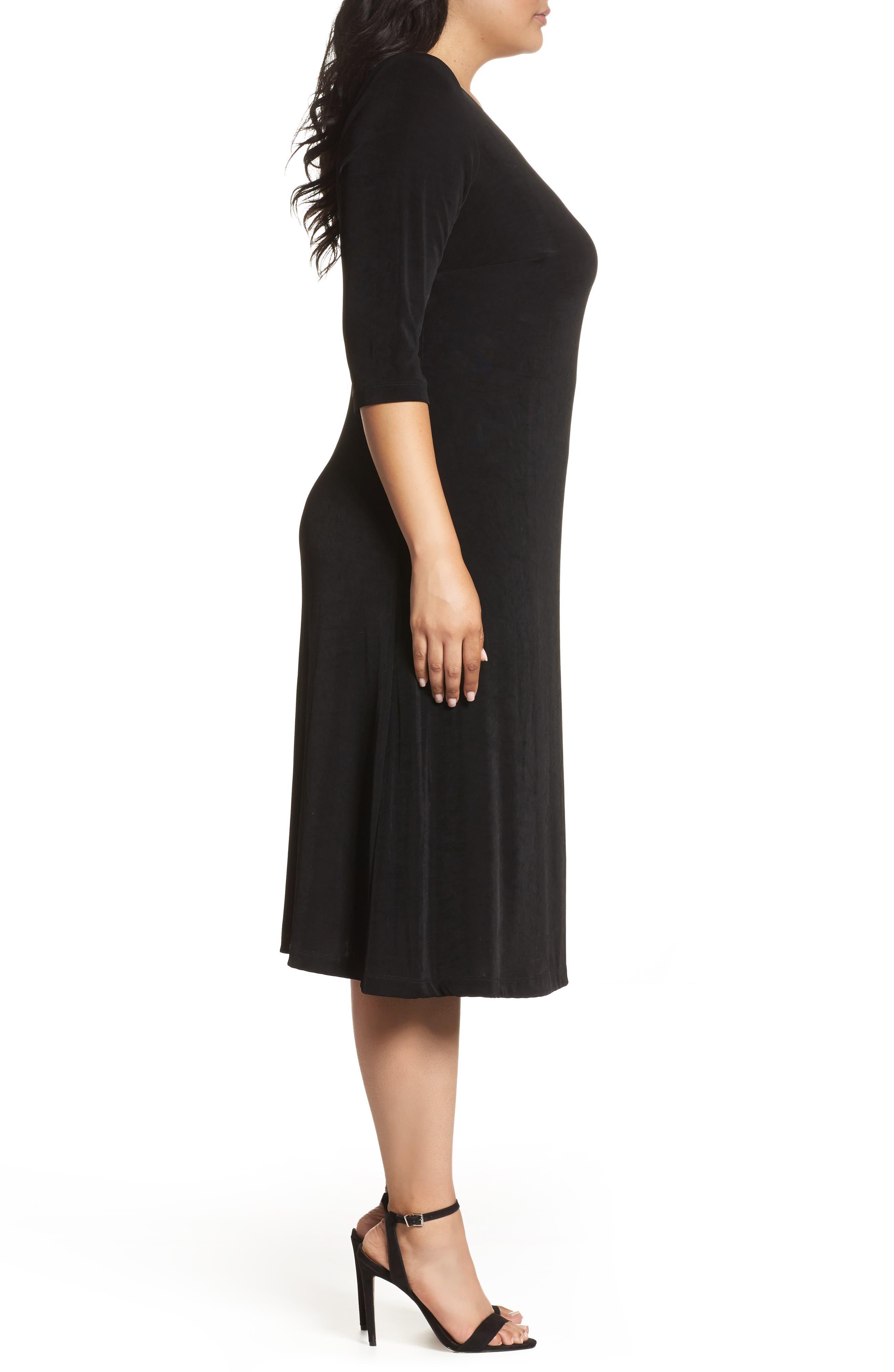 Alternate Image 3  - Vikki Vi Three-Quarter Sleeve Stretch Knit A-Line Dress (Plus Size)