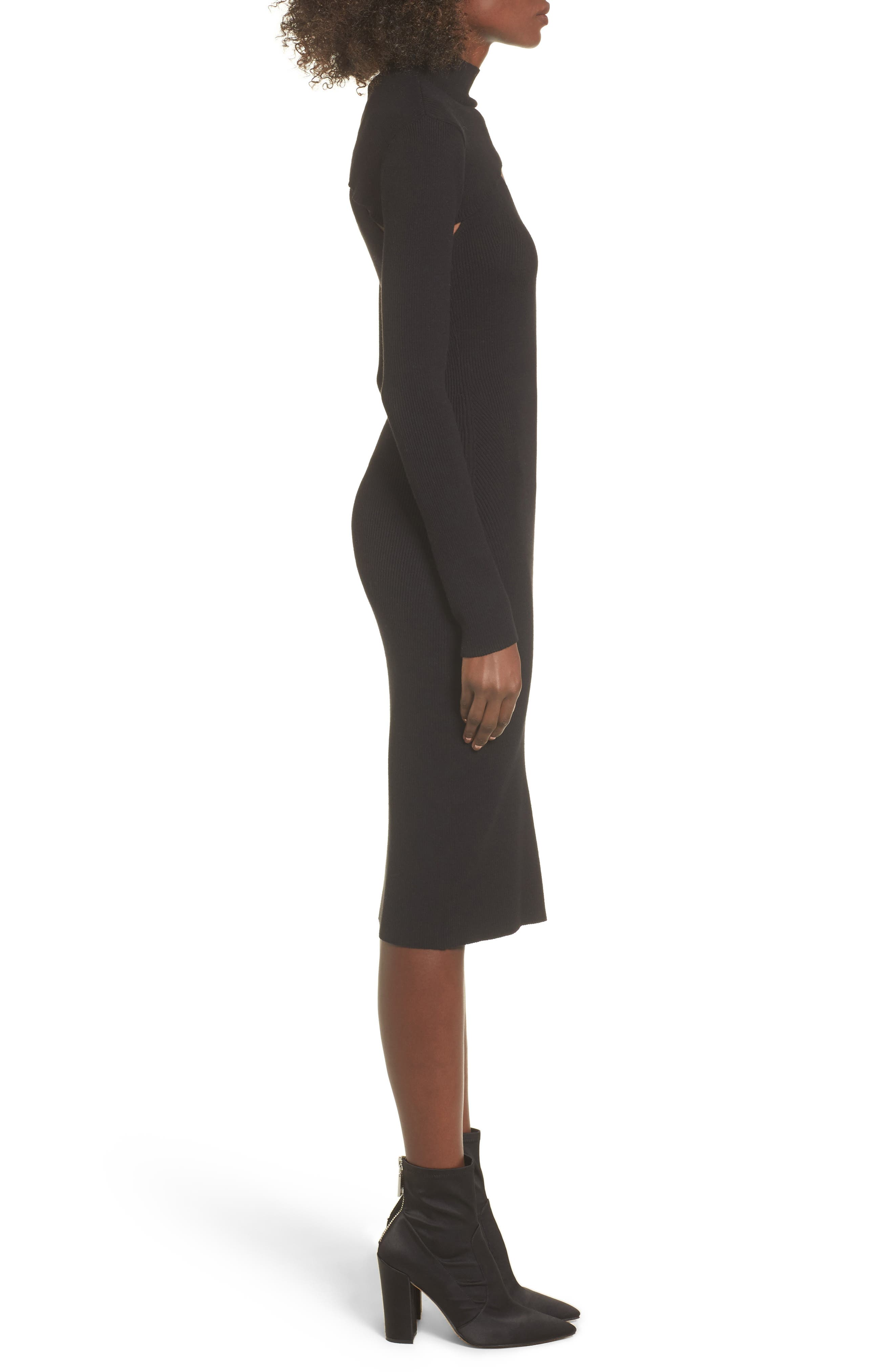 Slipdress with Shrug Sweater,                             Alternate thumbnail 3, color,                             Black