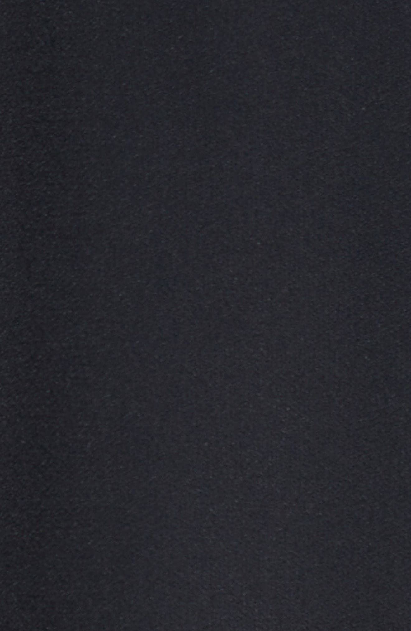Ruffle Satin Backed Crepe Dress,                             Alternate thumbnail 4, color,                             Black