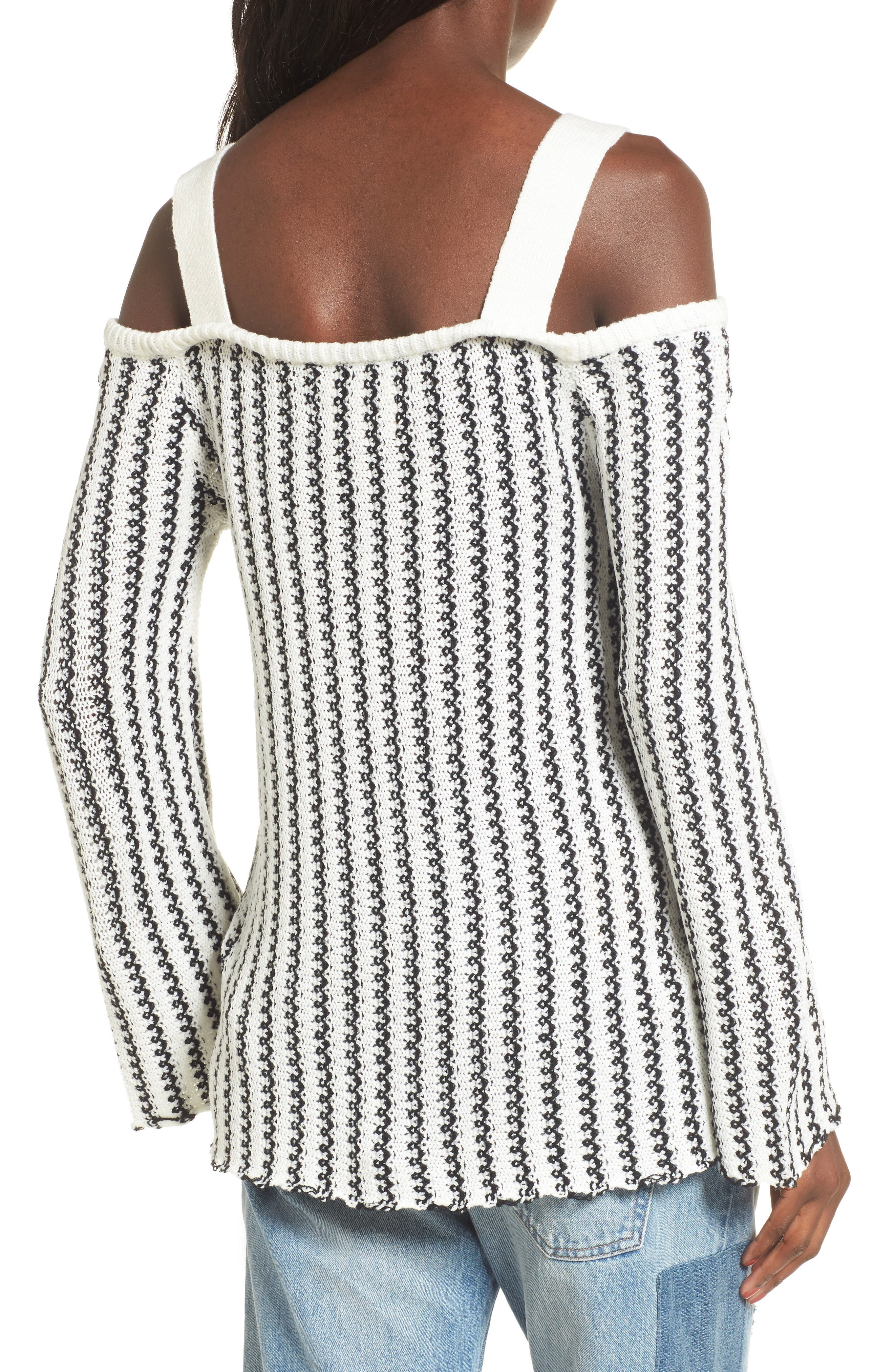 Buckle Strap Sweater,                             Alternate thumbnail 3, color,                             Ivory Black