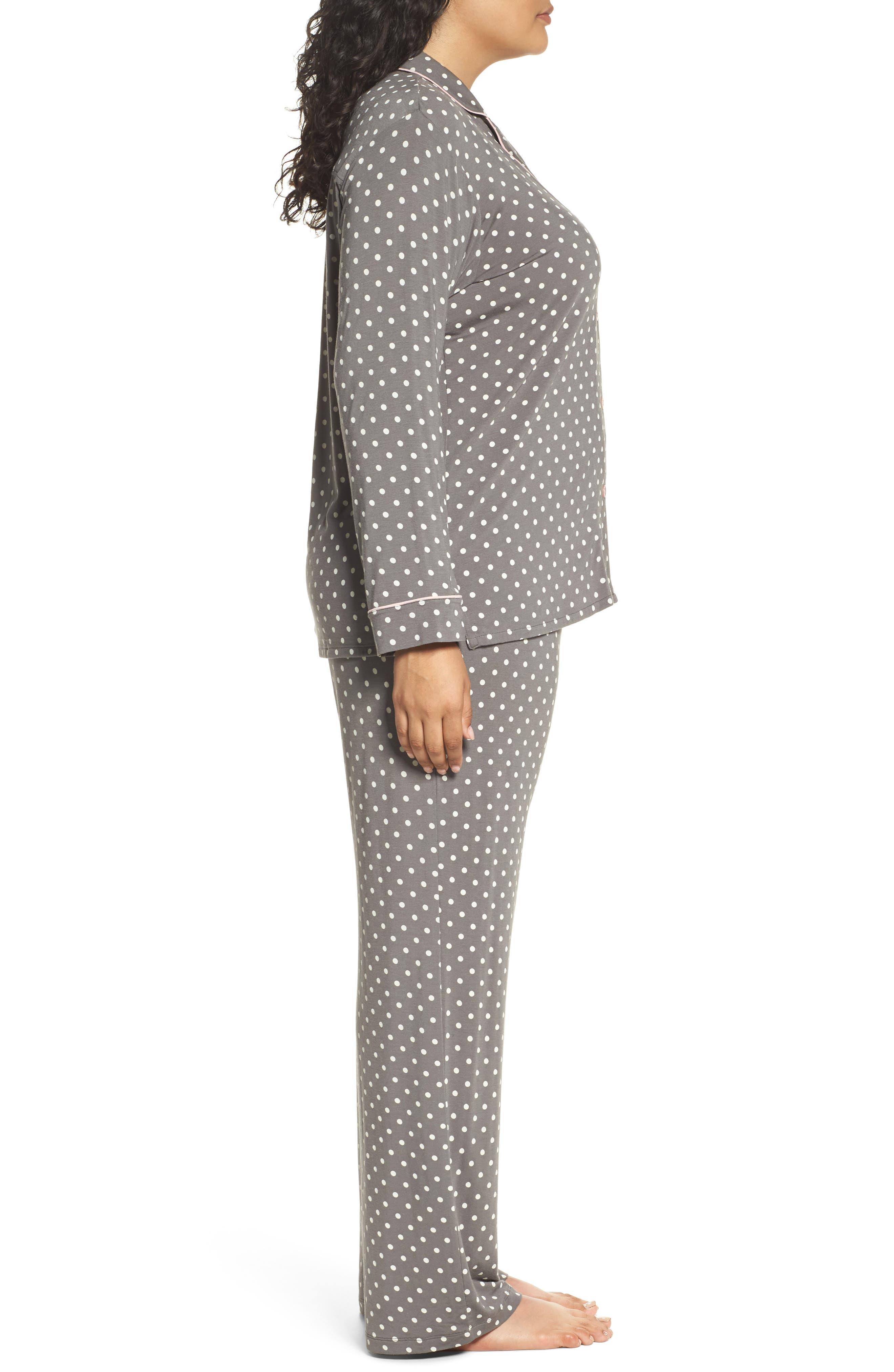 Polka Dot Pajamas,                             Alternate thumbnail 3, color,                             Charcoal