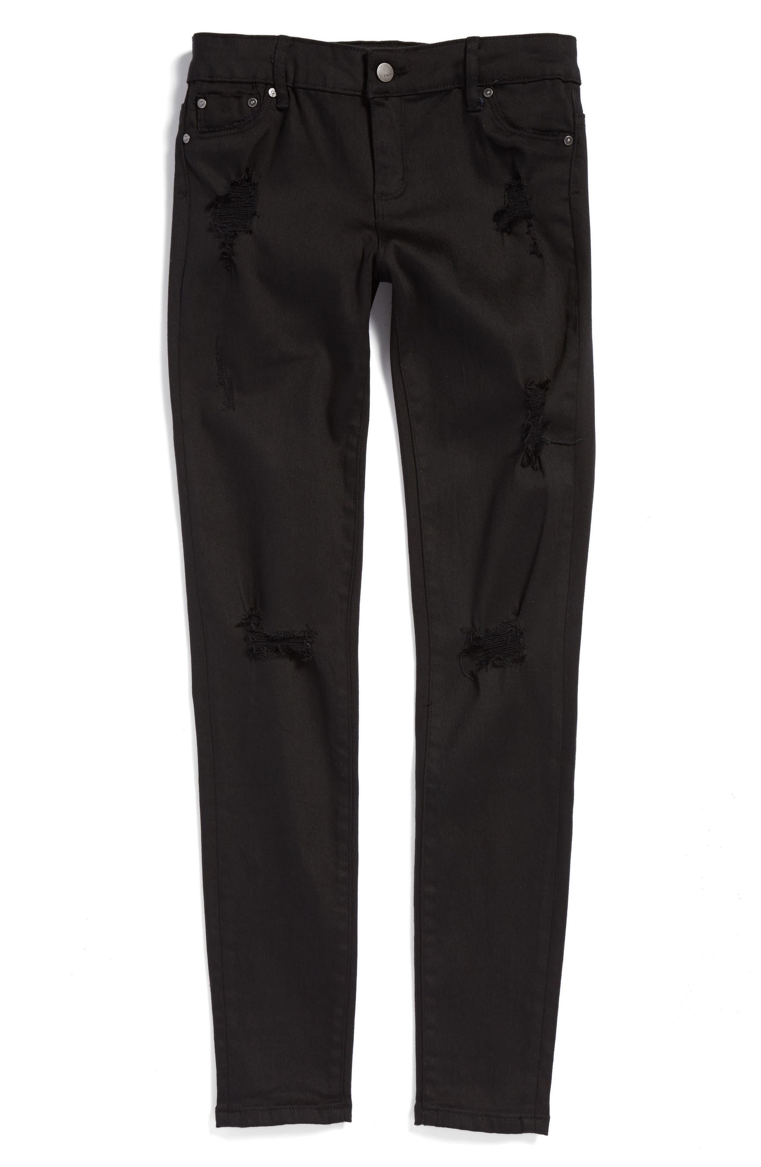 Destructed Skinny Jeans,                             Main thumbnail 1, color,                             Black