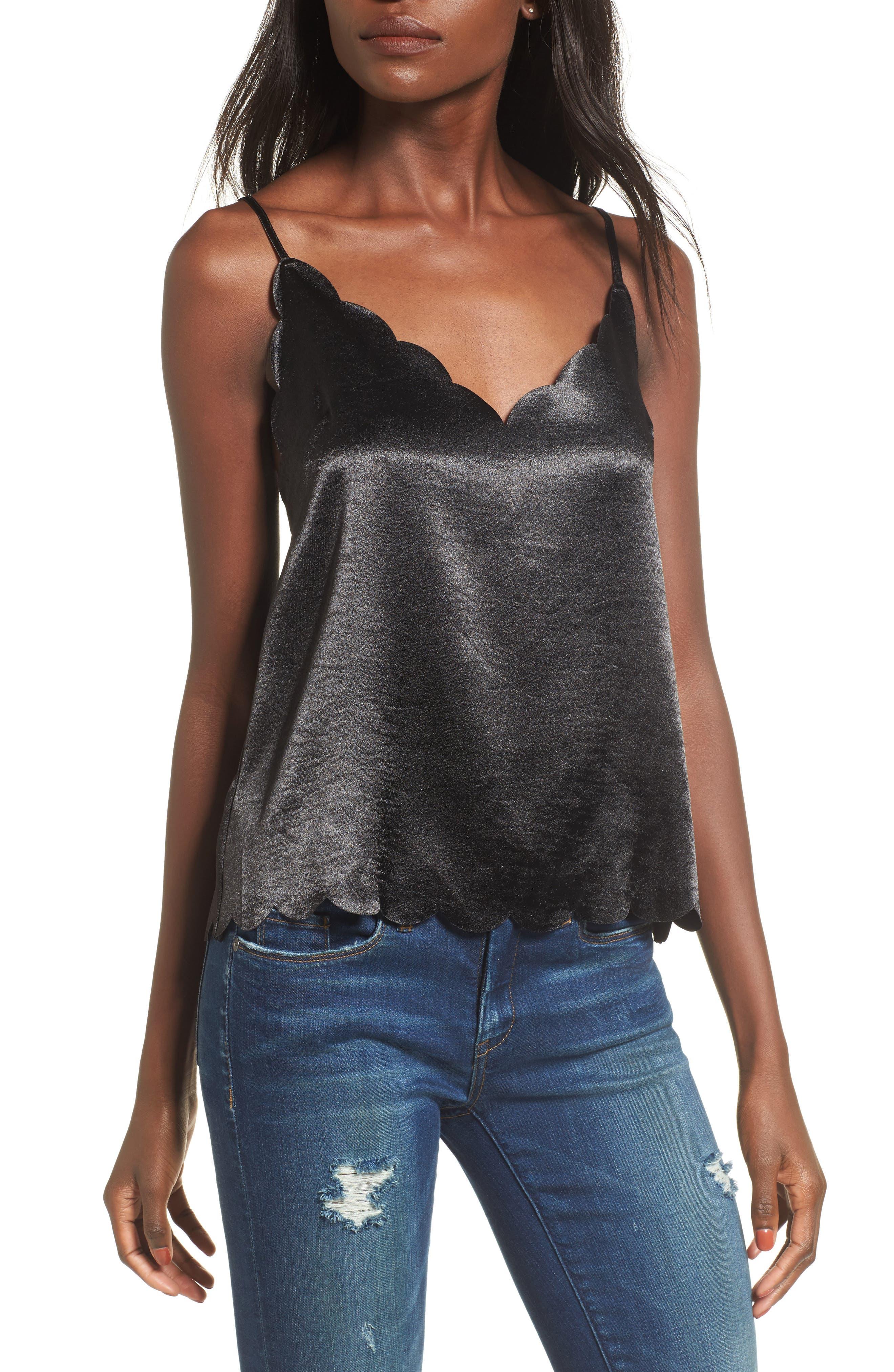 Scallop Edge Camisole,                         Main,                         color, Black