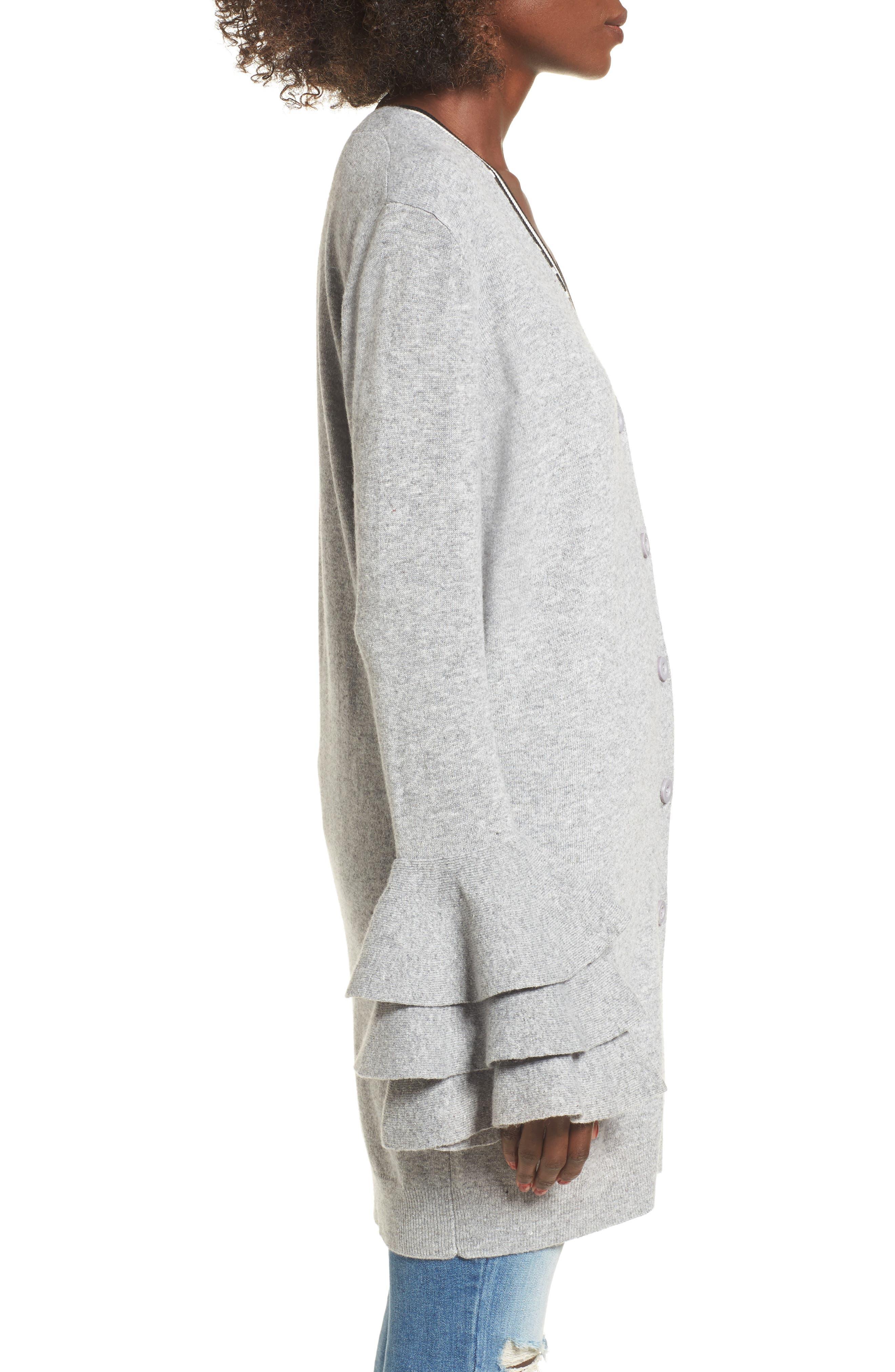 Ruffle Sleeve Longline Cardigan,                             Alternate thumbnail 3, color,                             Grey