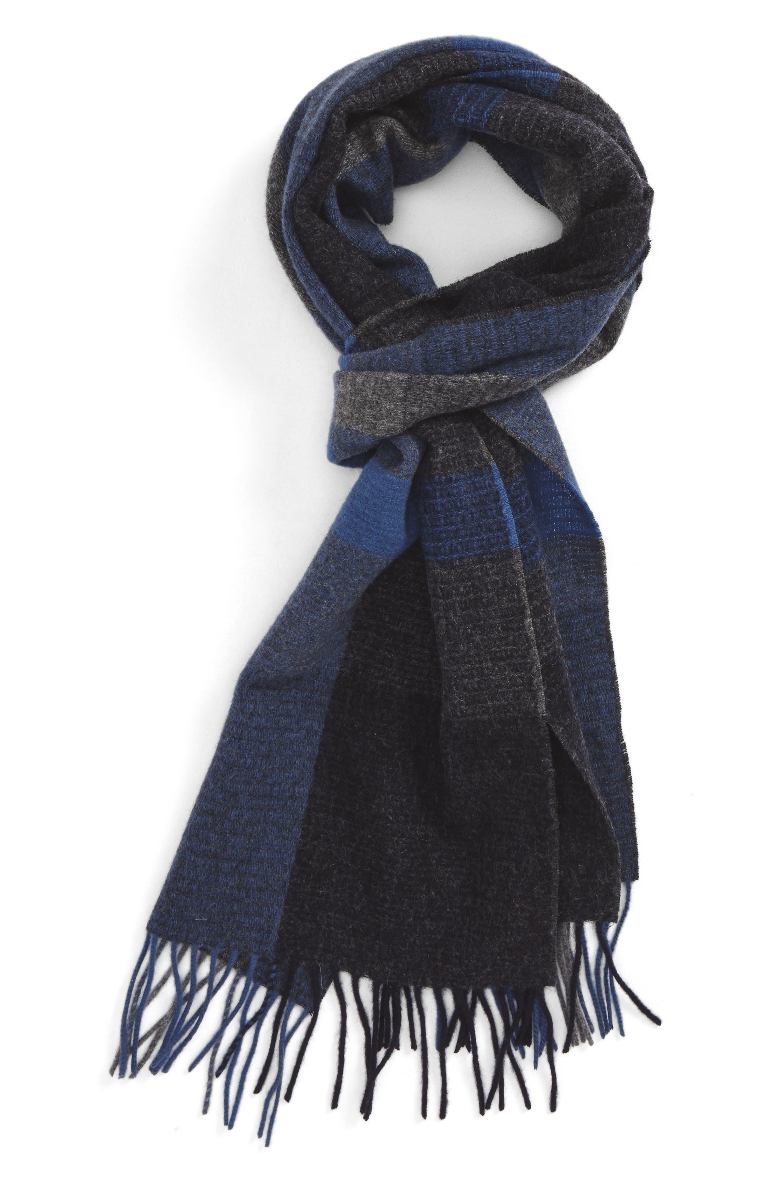 Plaid Wool Scarf,                         Main,                         color, Navy Night - Grey Block Plaid