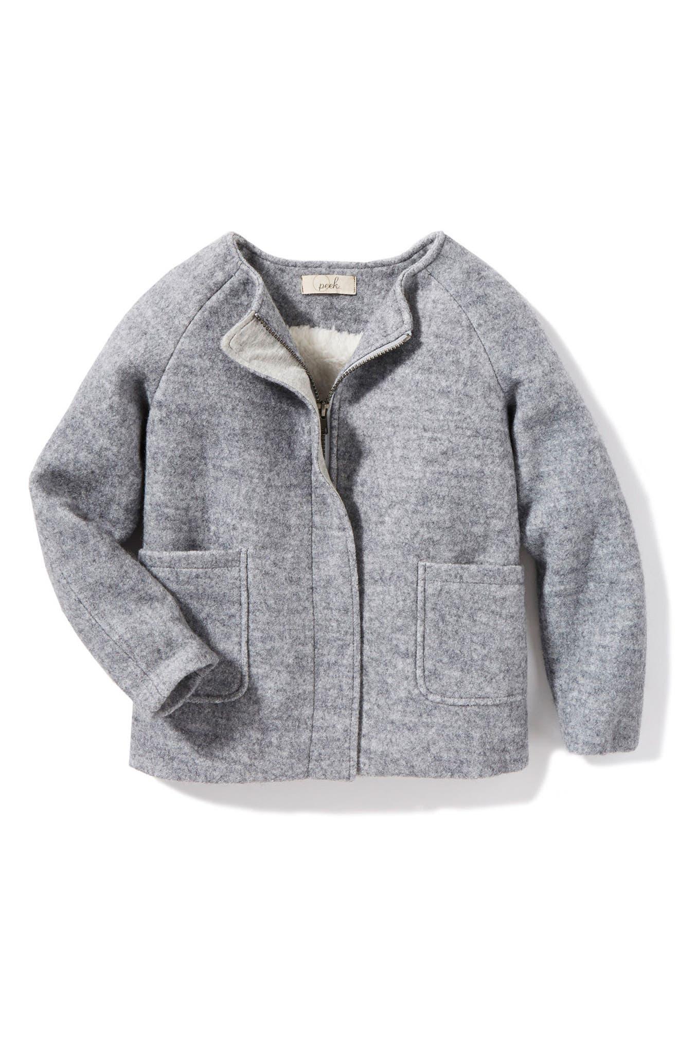 Glenda Fleece Jacket,                         Main,                         color, Grey Heather