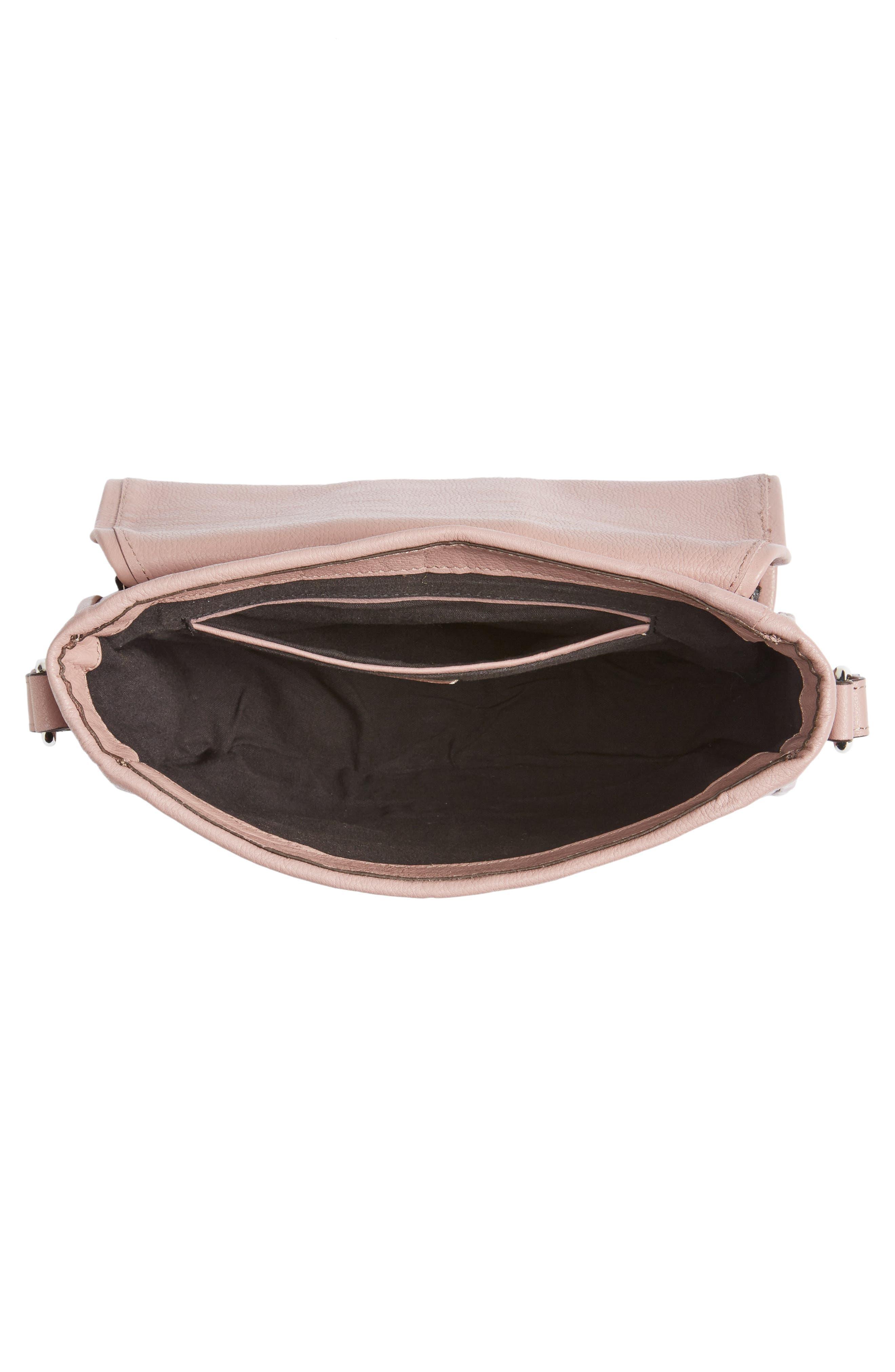 Premium Leather Studded Shoulder Bag,                             Alternate thumbnail 3, color,                             Blush