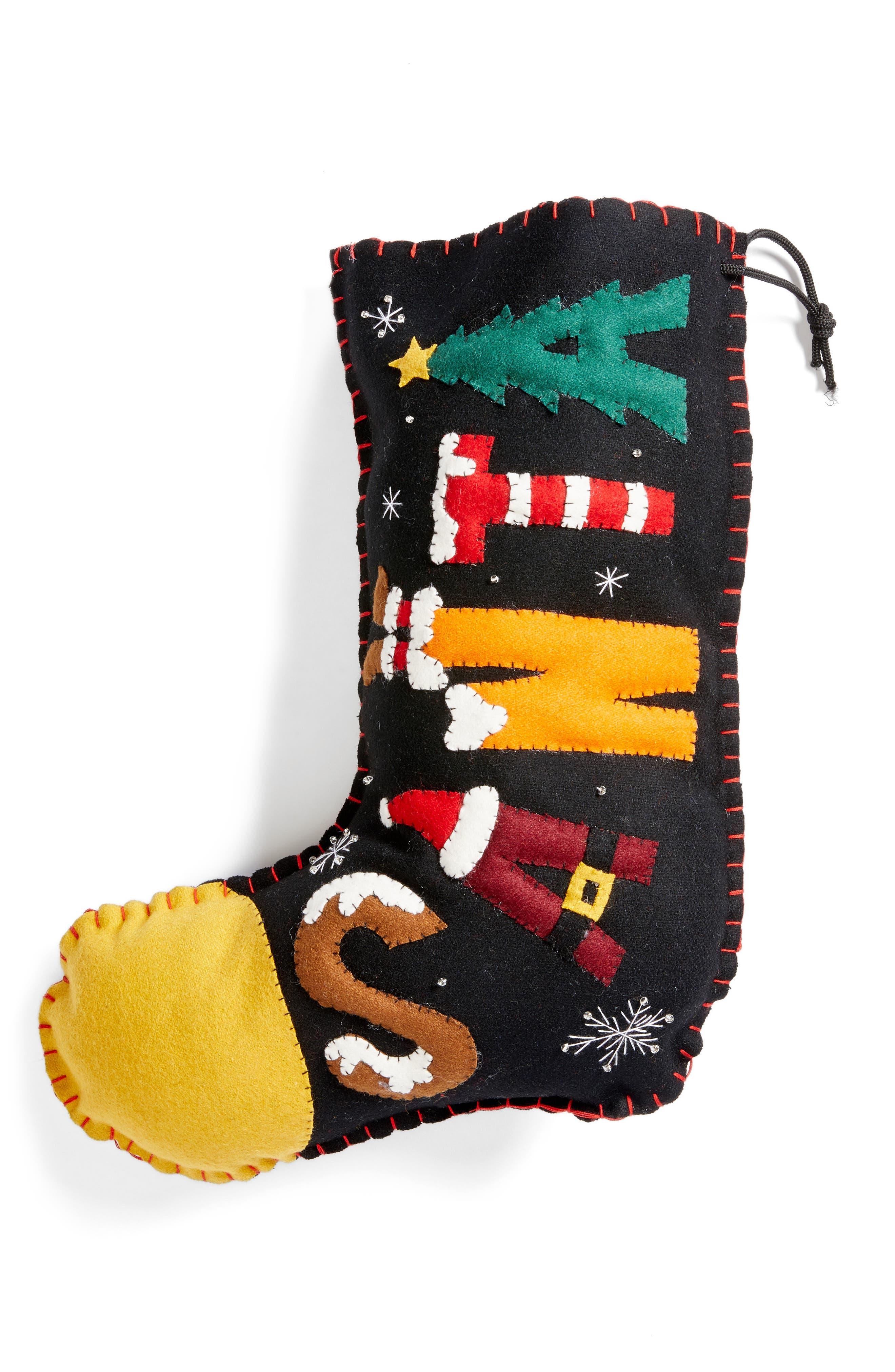 Santa Stocking,                             Main thumbnail 1, color,                             Black