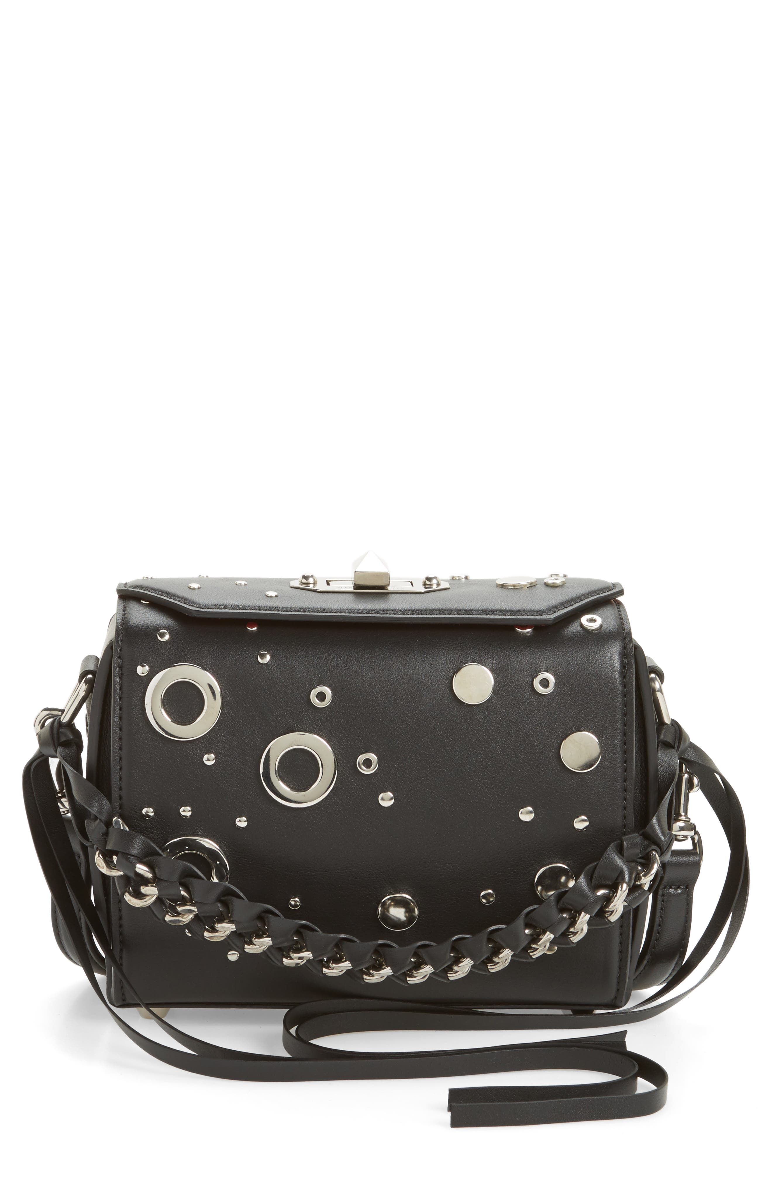 Alexander McQueen Grommet & Stud Calfskin Leather Box Bag