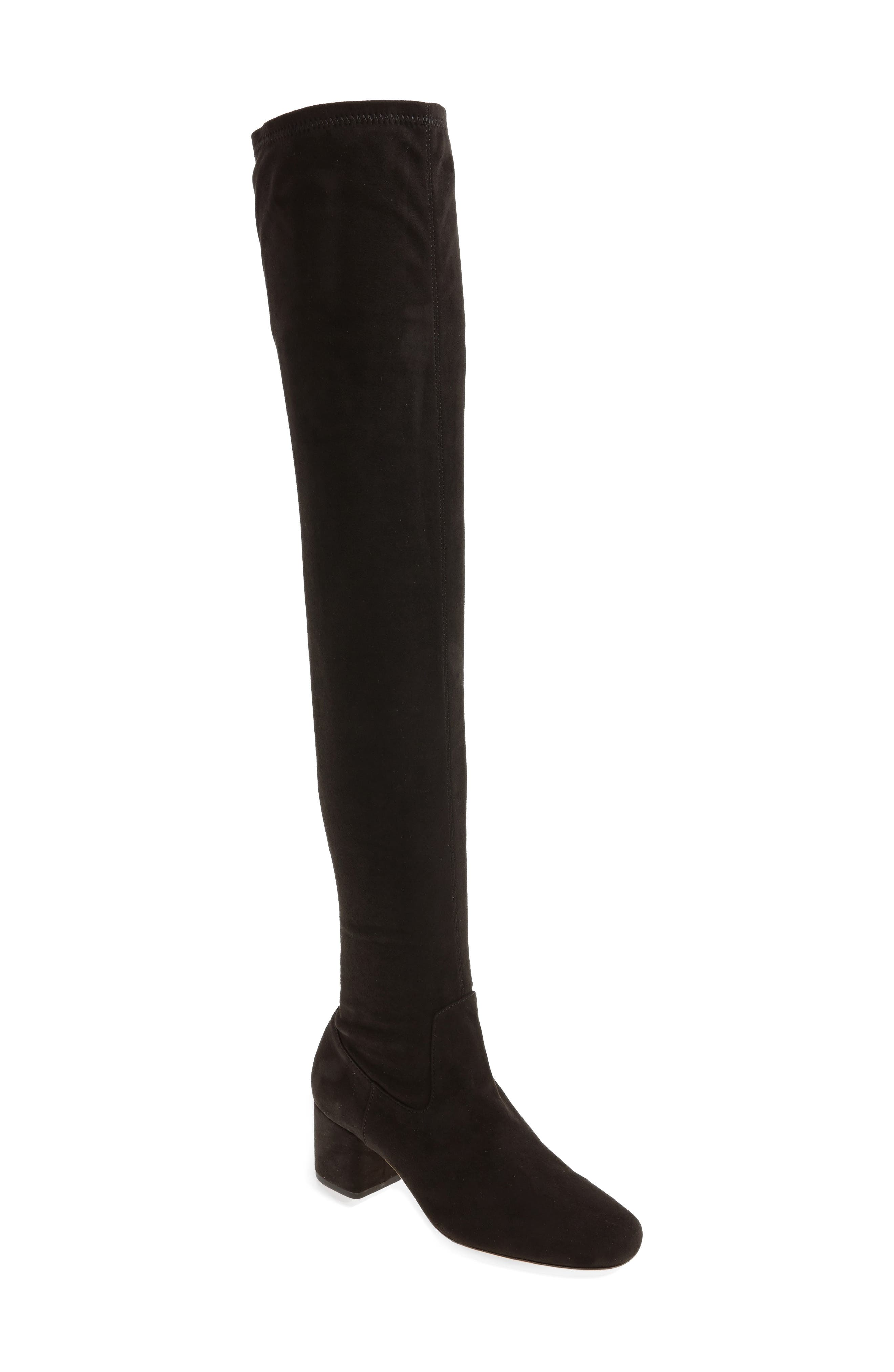 Amani Over the Knee Boot,                             Main thumbnail 1, color,                             Black Suede