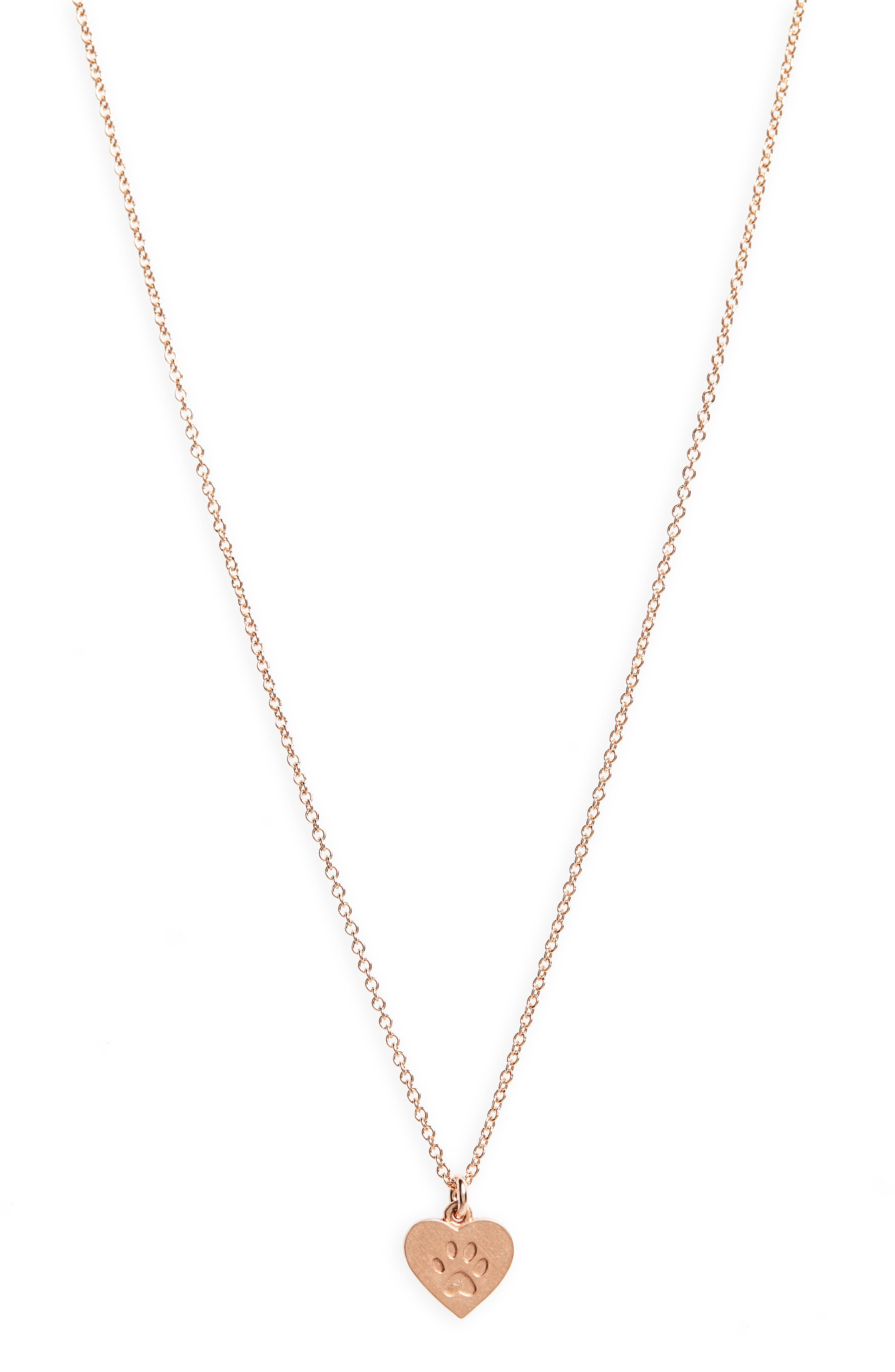 Animal Lover Best Friends Paw Charm Pendant Necklace,                             Alternate thumbnail 3, color,                             Rose Gold