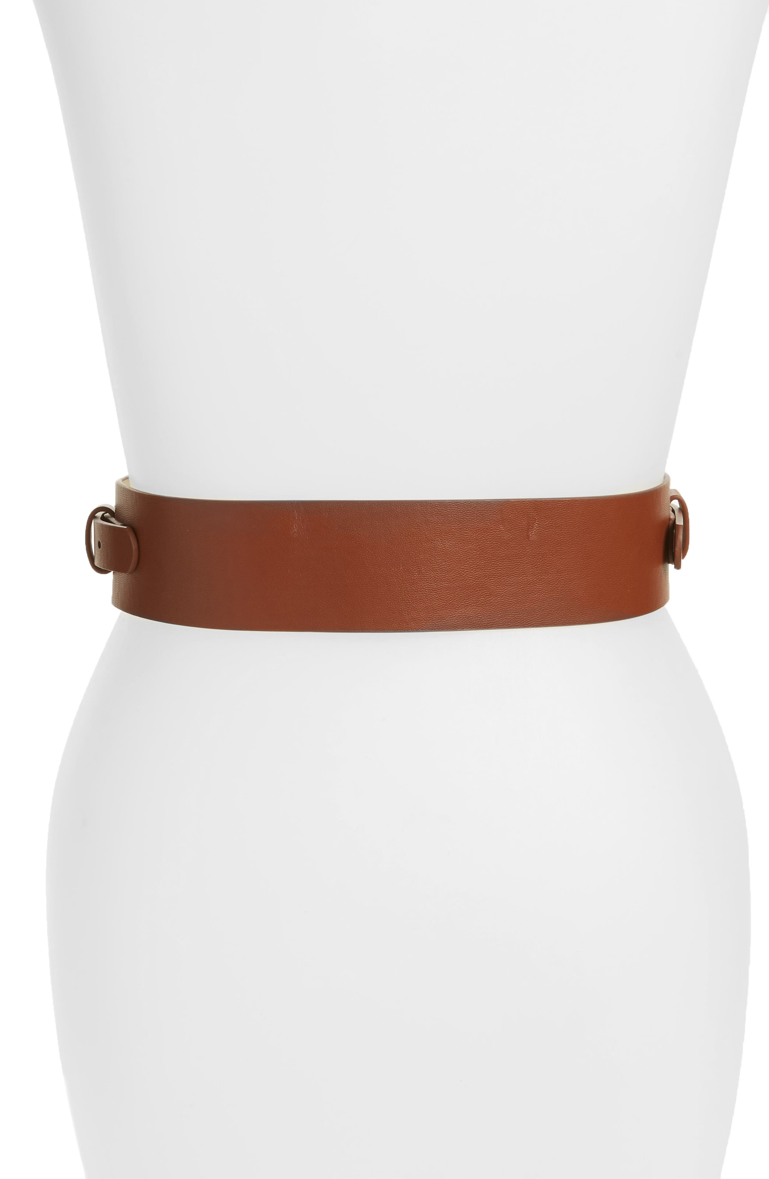 Accessory Collective Faux Leather Equestrian Belt,                             Alternate thumbnail 2, color,                             Cognac/ Gold