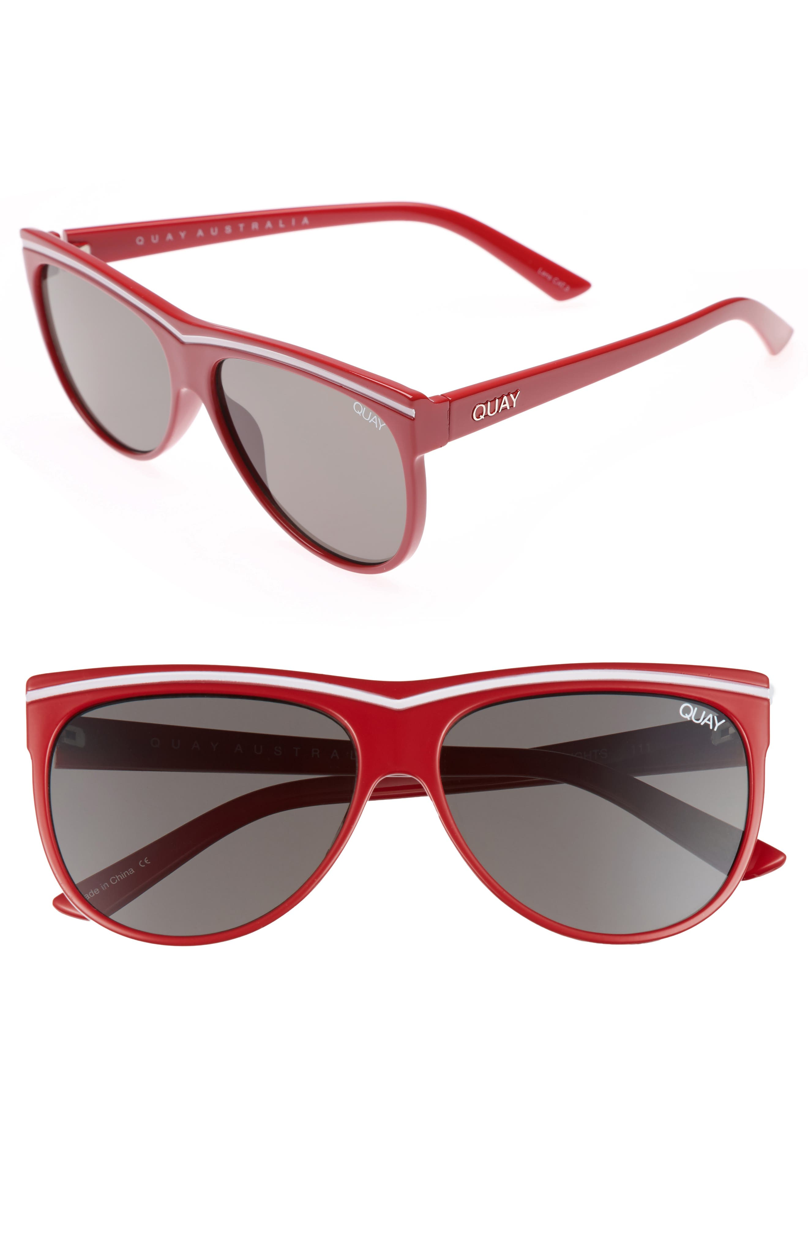 Hollywood Nights 62mm Sunglasses,                         Main,                         color, Red Smoke