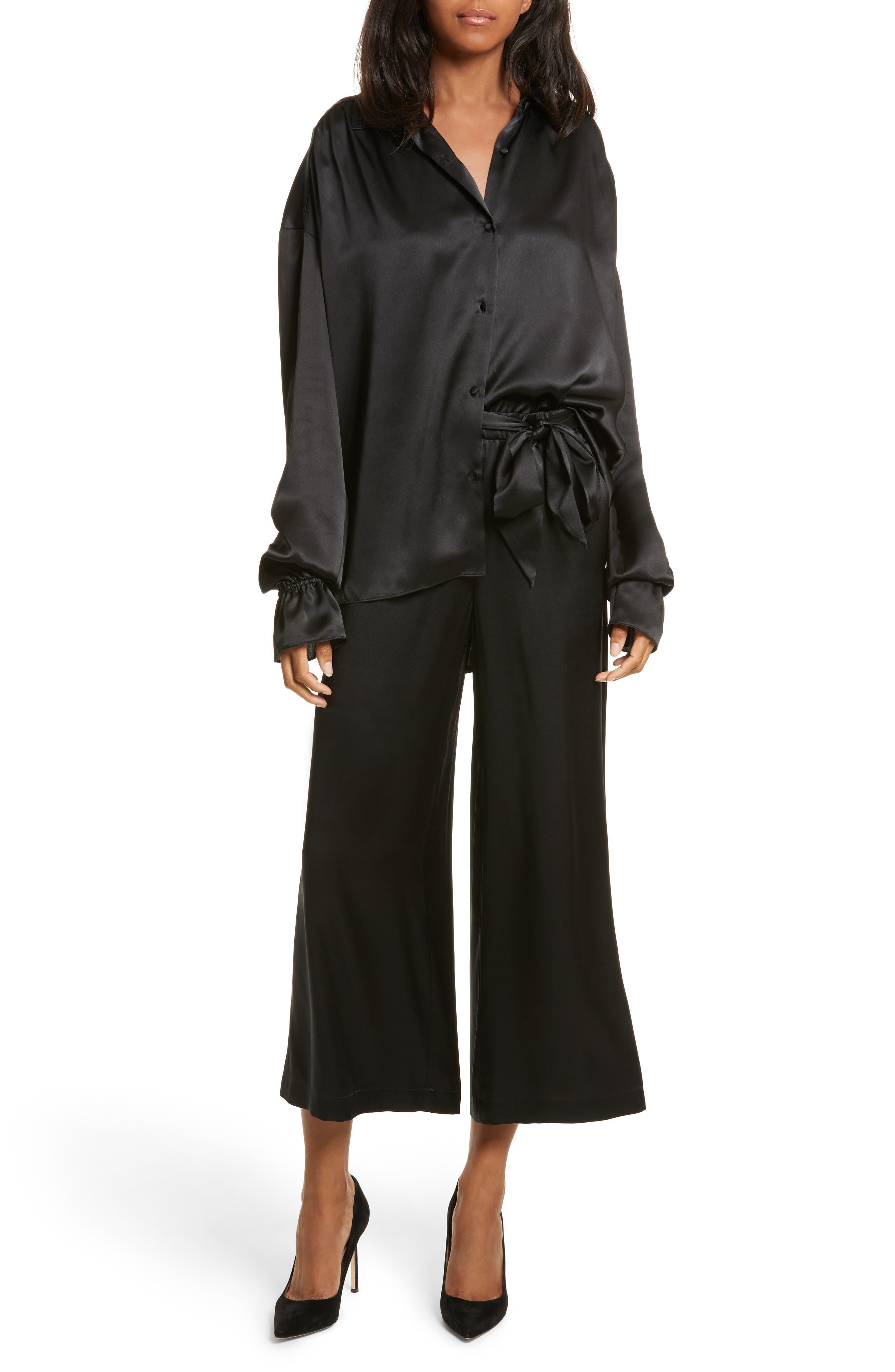Tie Waist Crop Silk Pants,                             Alternate thumbnail 2, color,                             Noir