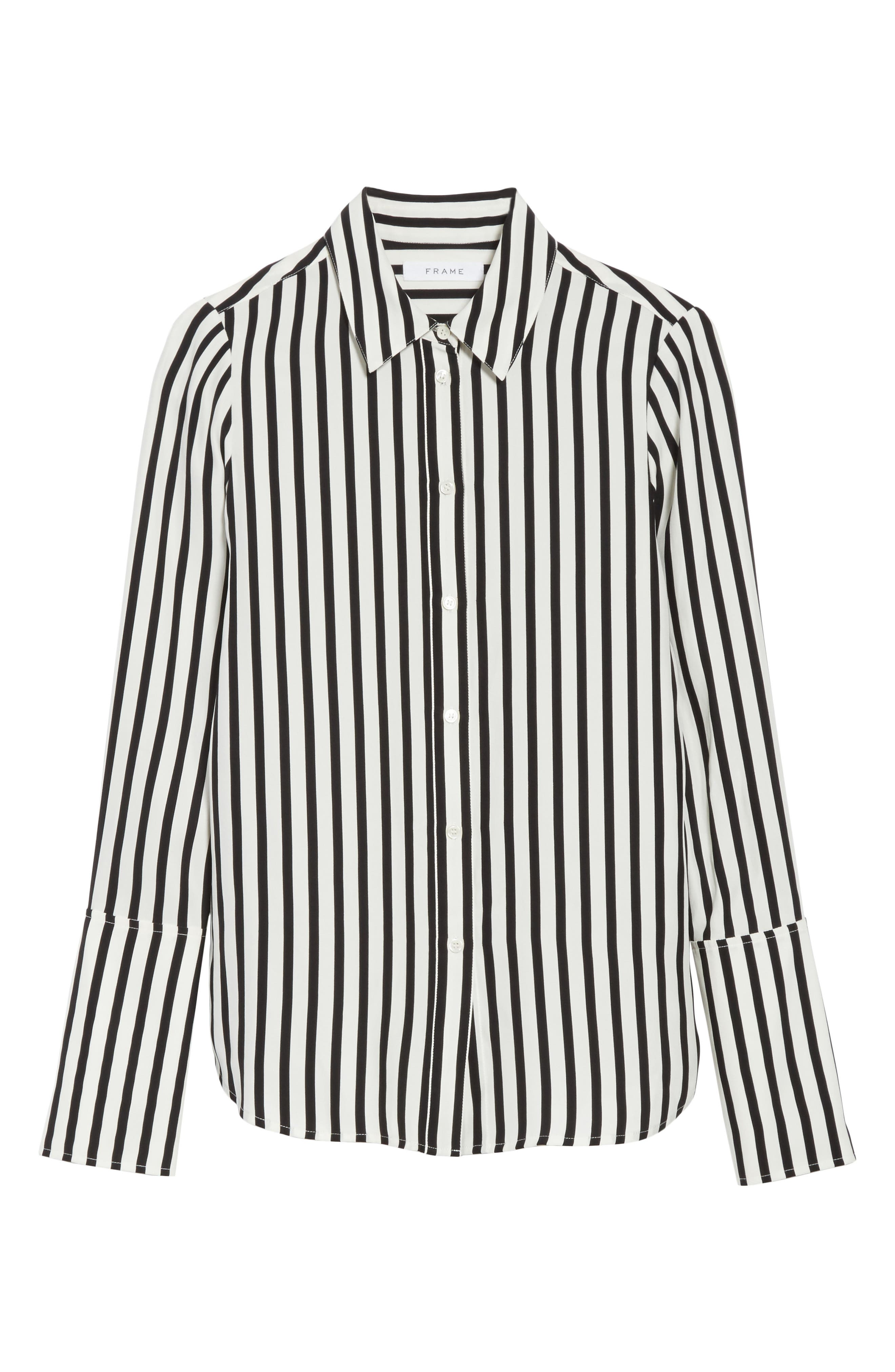 Stripe Silk Shirt,                             Alternate thumbnail 6, color,                             Noir Multi