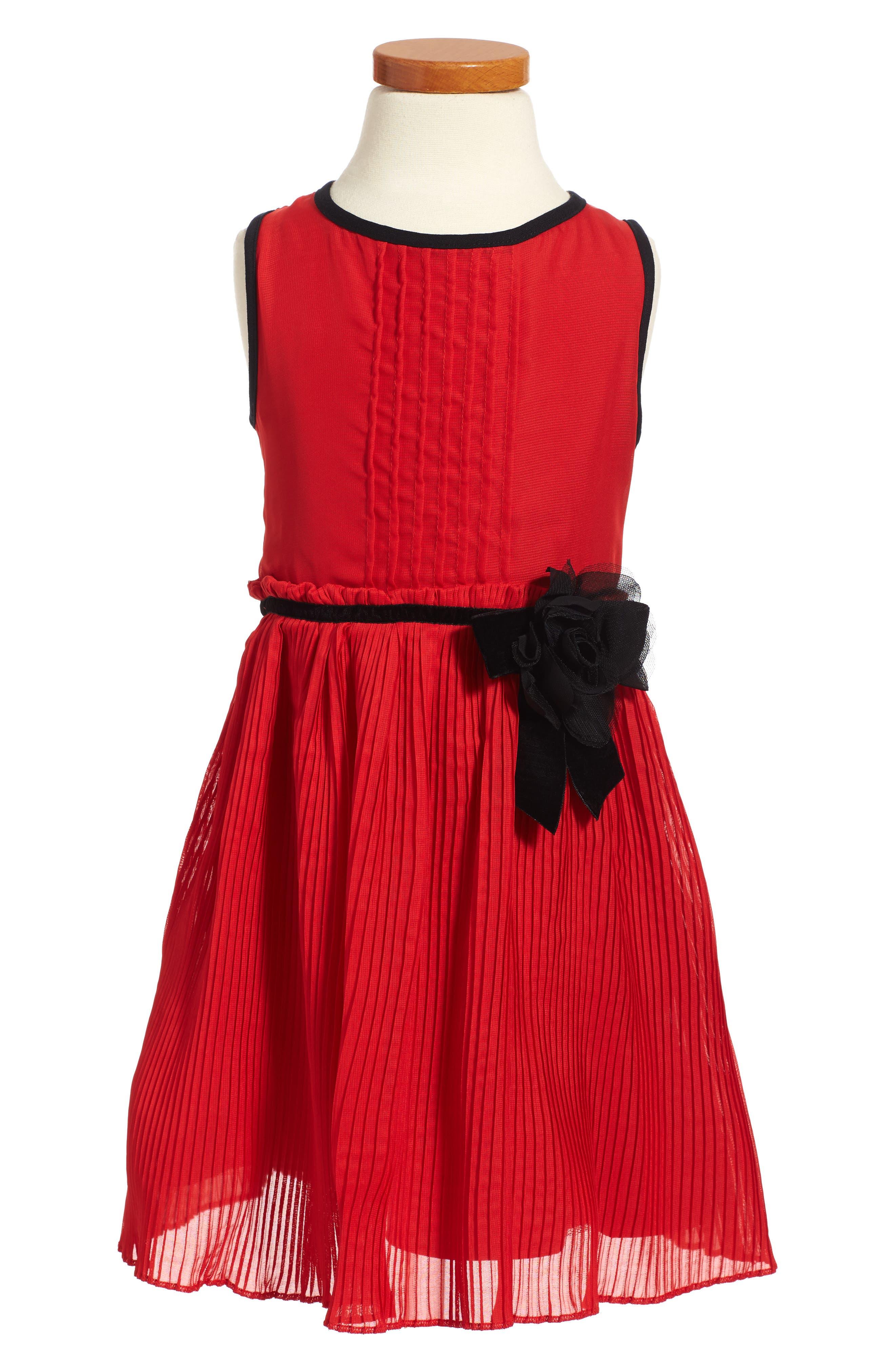 kate spade new york pleated chiffon dress (Toddler Girls & Little Girls)
