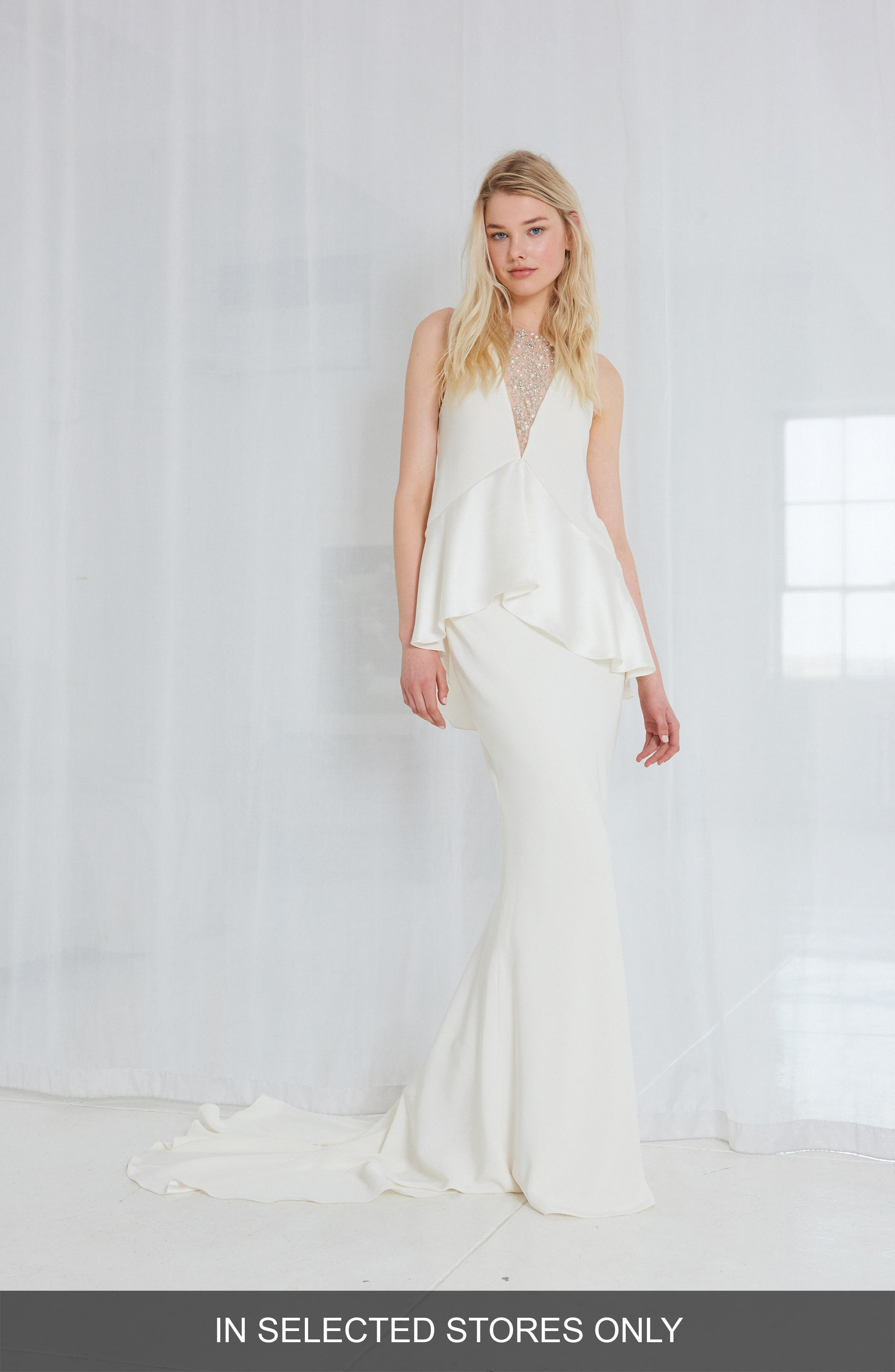 Sia Satin Two-Piece Gown,                         Main,                         color, Ivory