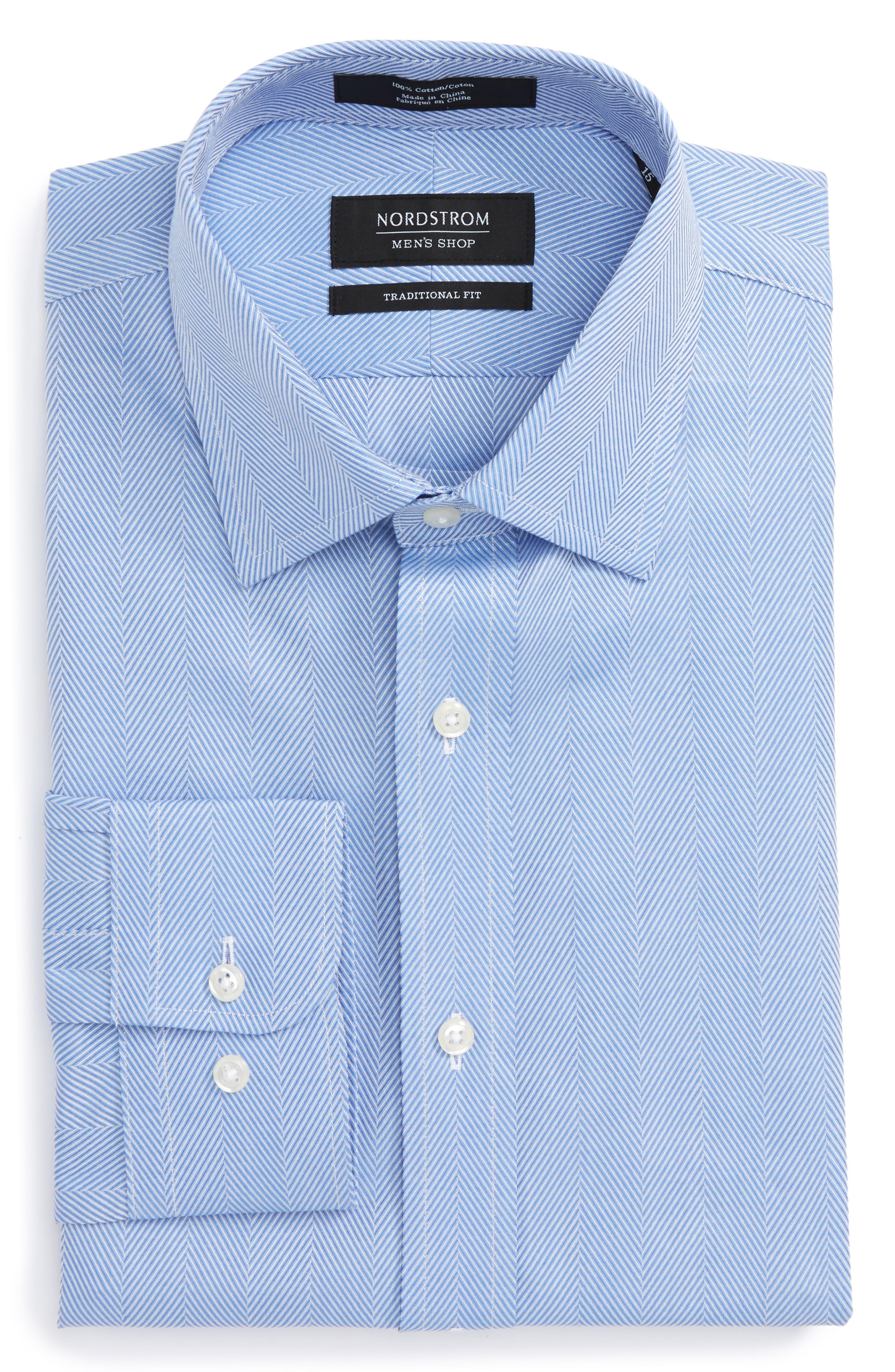Traditional Fit Herringbone Dress Shirt,                             Alternate thumbnail 6, color,                             Blue Provence