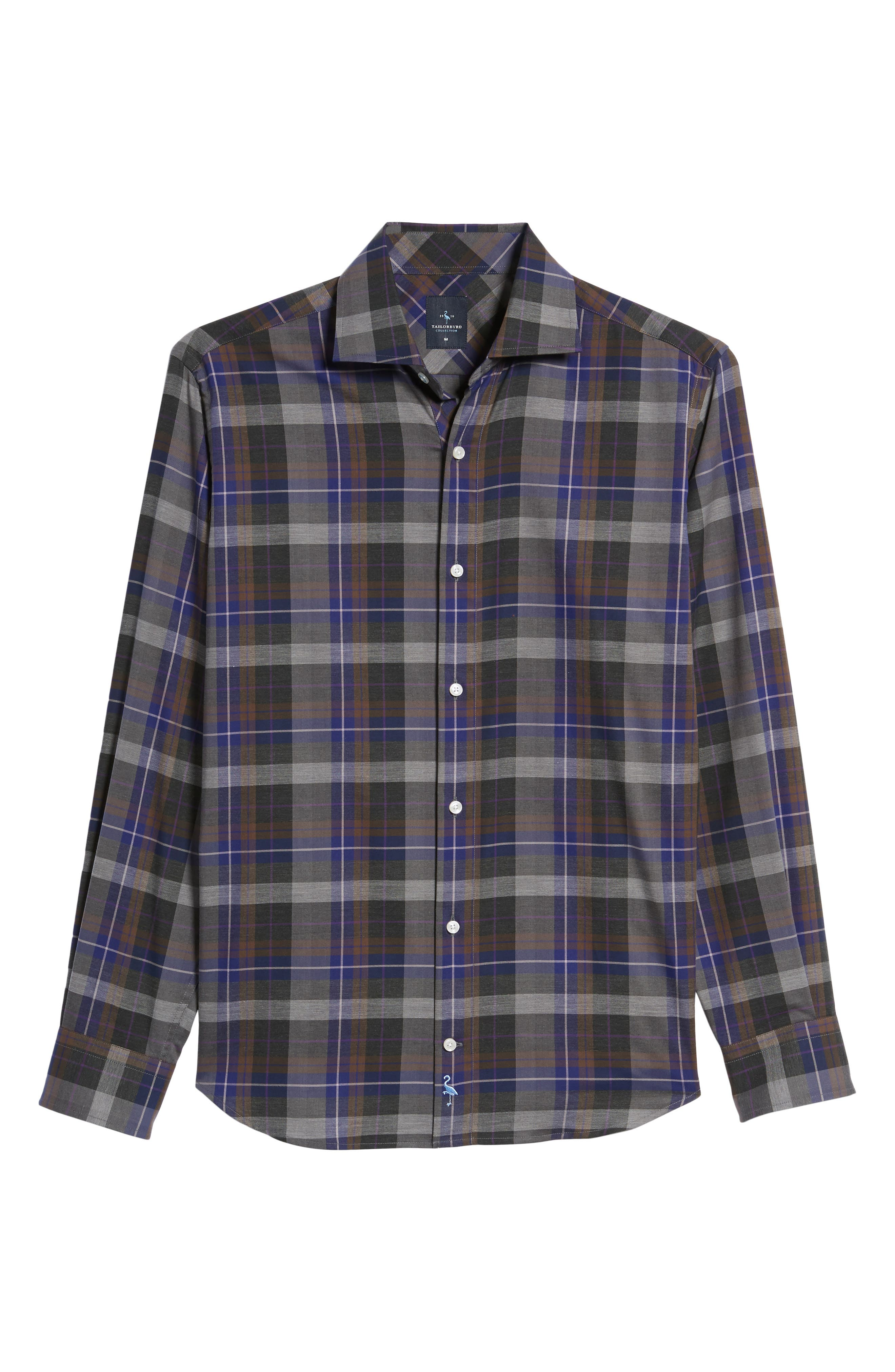 Cullen Plaid Twill Sport Shirt,                             Alternate thumbnail 6, color,                             Blue