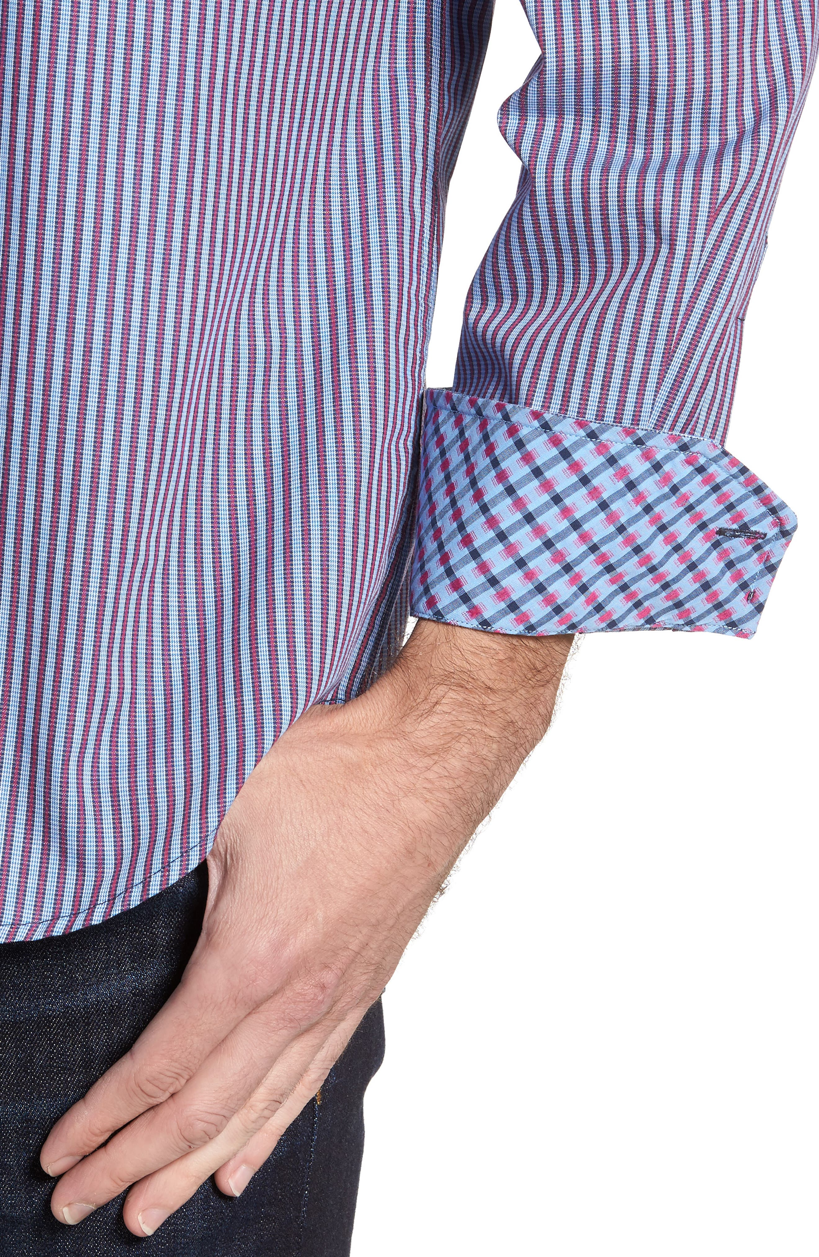 Brownfields Striped Sport Shirt,                             Alternate thumbnail 4, color,                             Merlot
