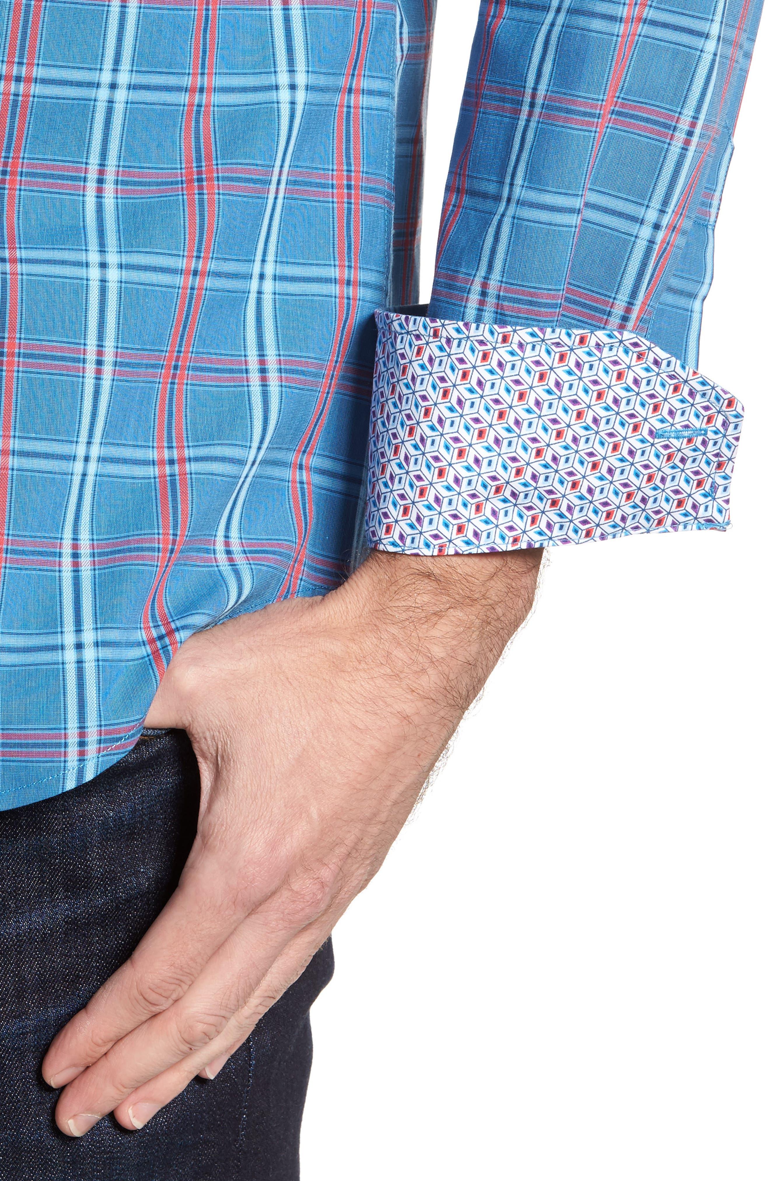 Ashland Windowpane Check Sport Shirt,                             Alternate thumbnail 4, color,                             Blue