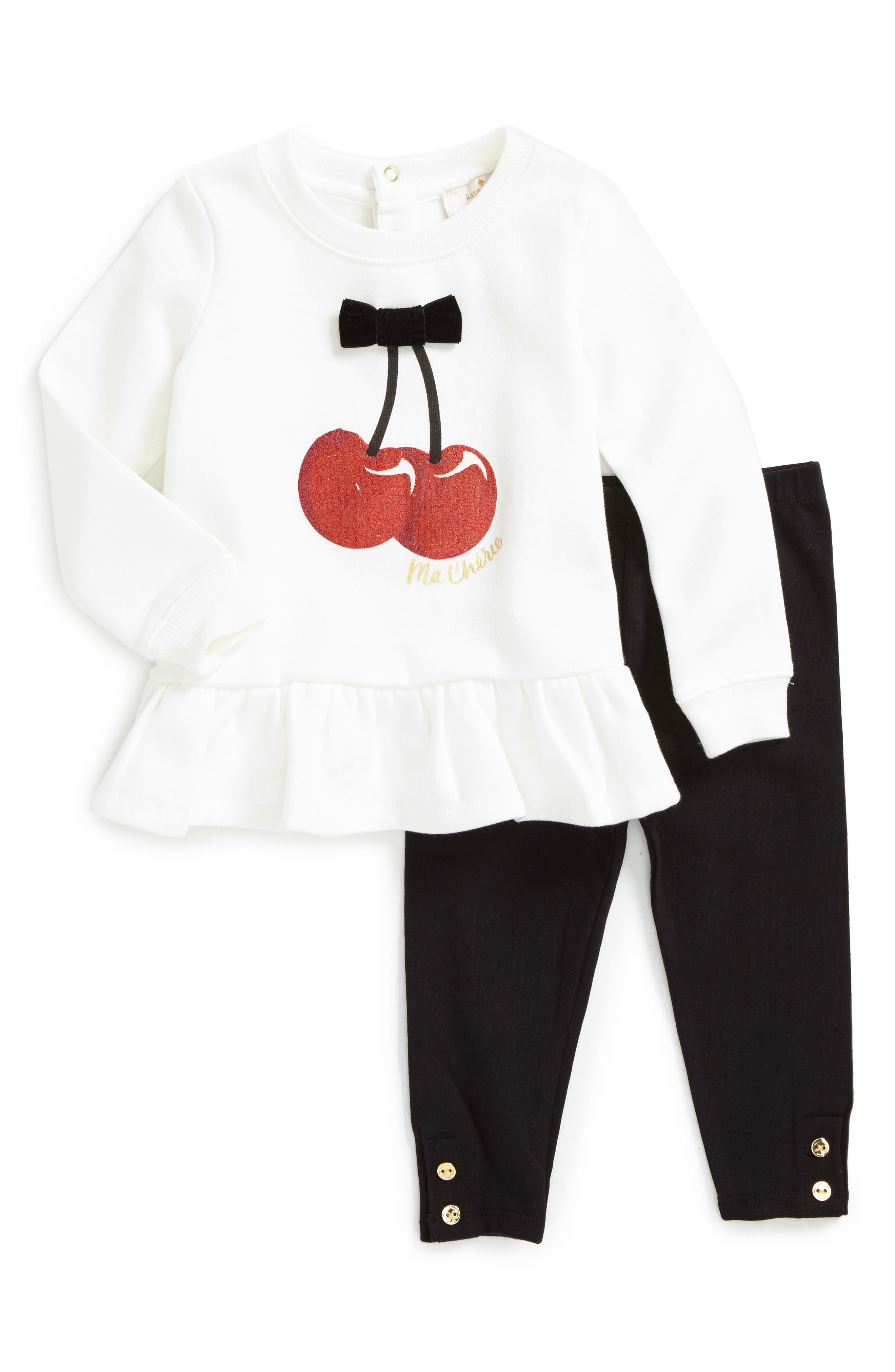 Alternate Image 1 Selected - kate spade new york ma chérie graphic top & leggings set (Baby Girls)