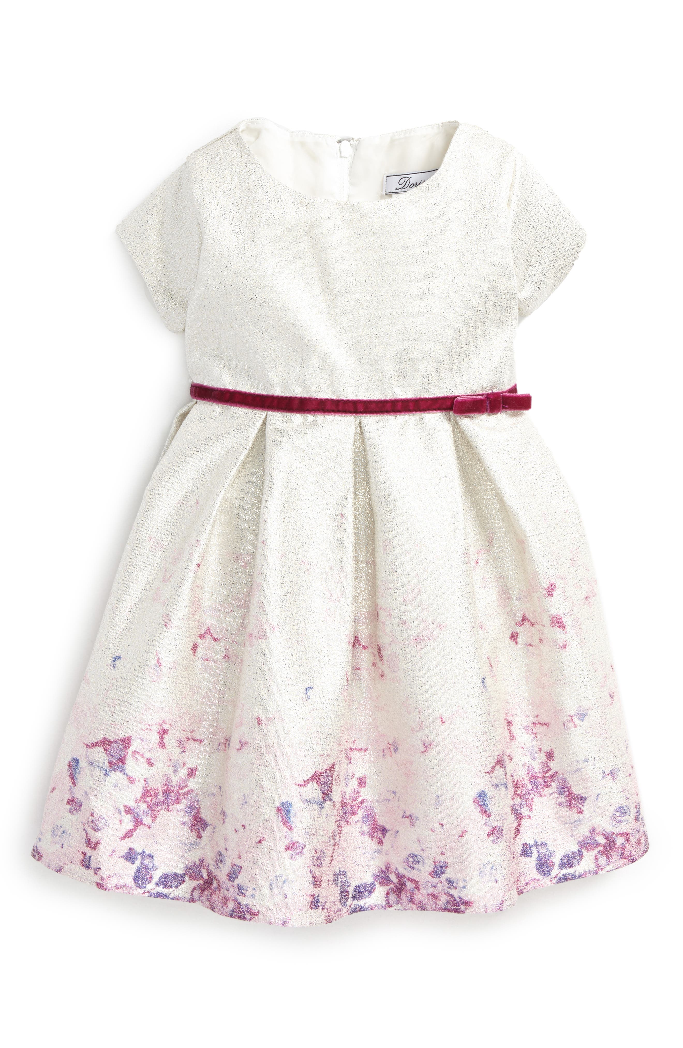Dorissa Liza Lamé Floral Fit & Flare Dress (Baby Girls)