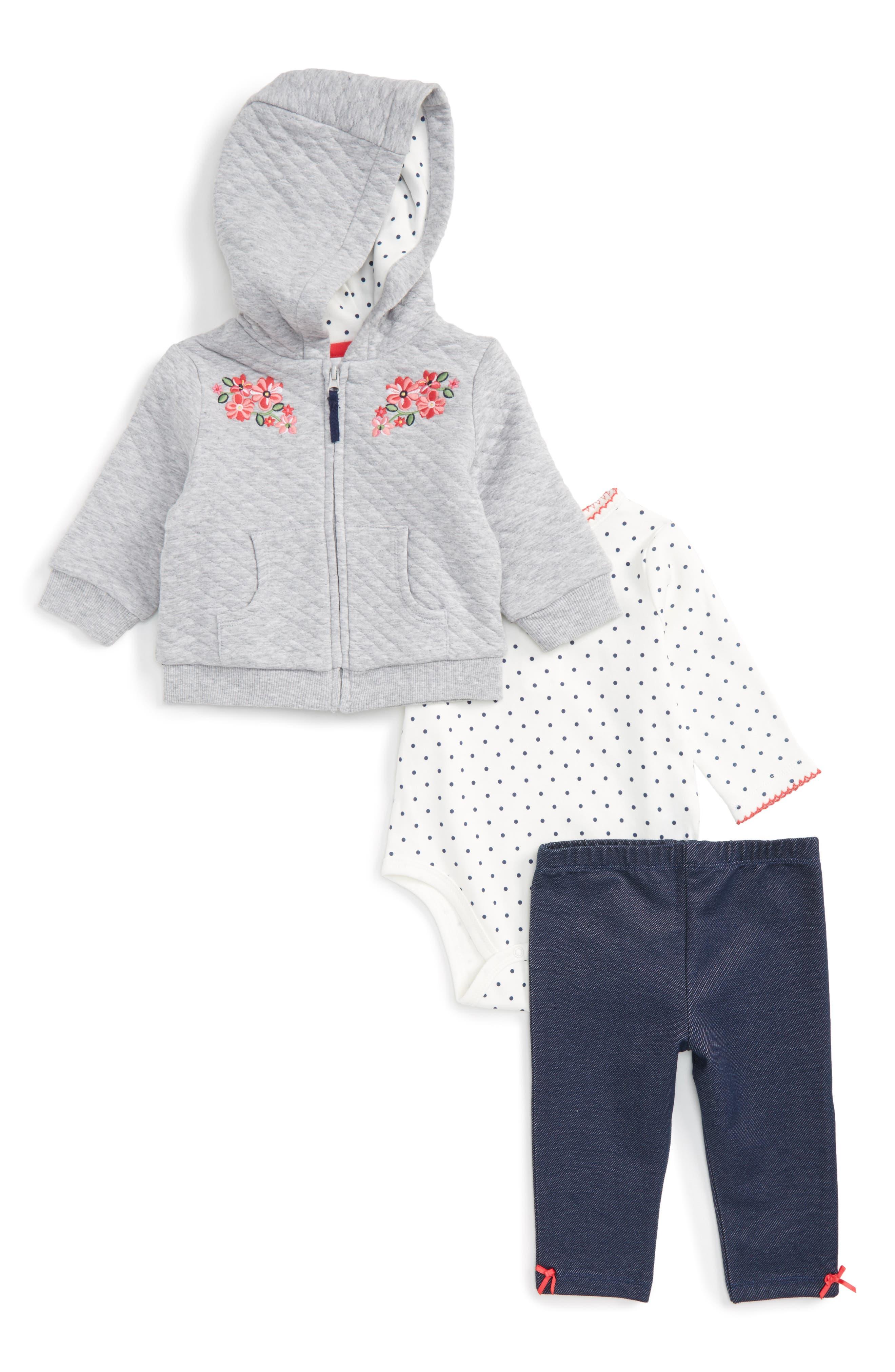 Main Image - Little Me Flower Swag Quilted Hoodie, Bodysuit & Leggings Set (Baby Girls)