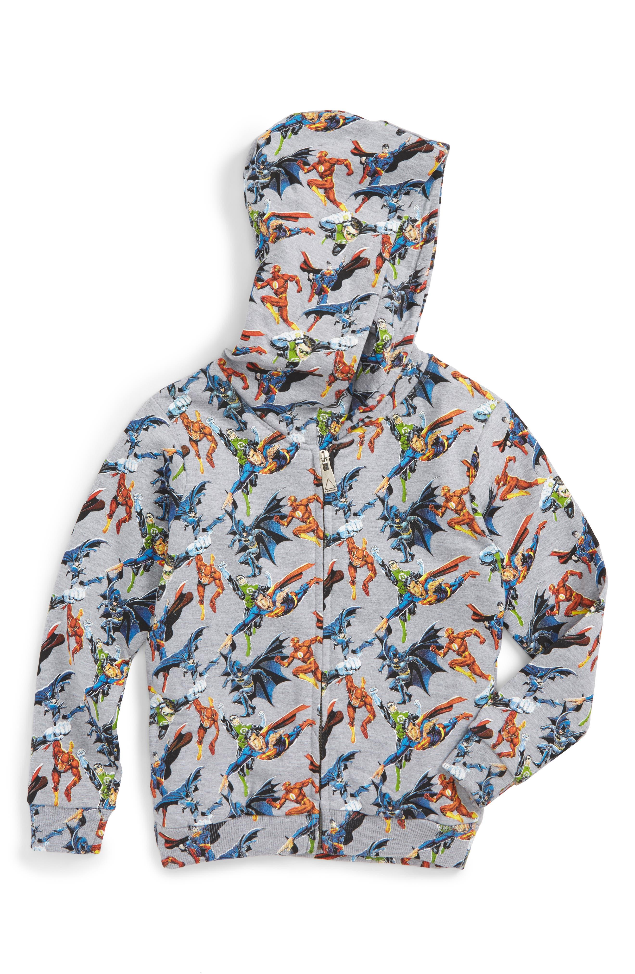 Super Heros Graphic Zip Hoodie,                             Main thumbnail 1, color,                             Grey