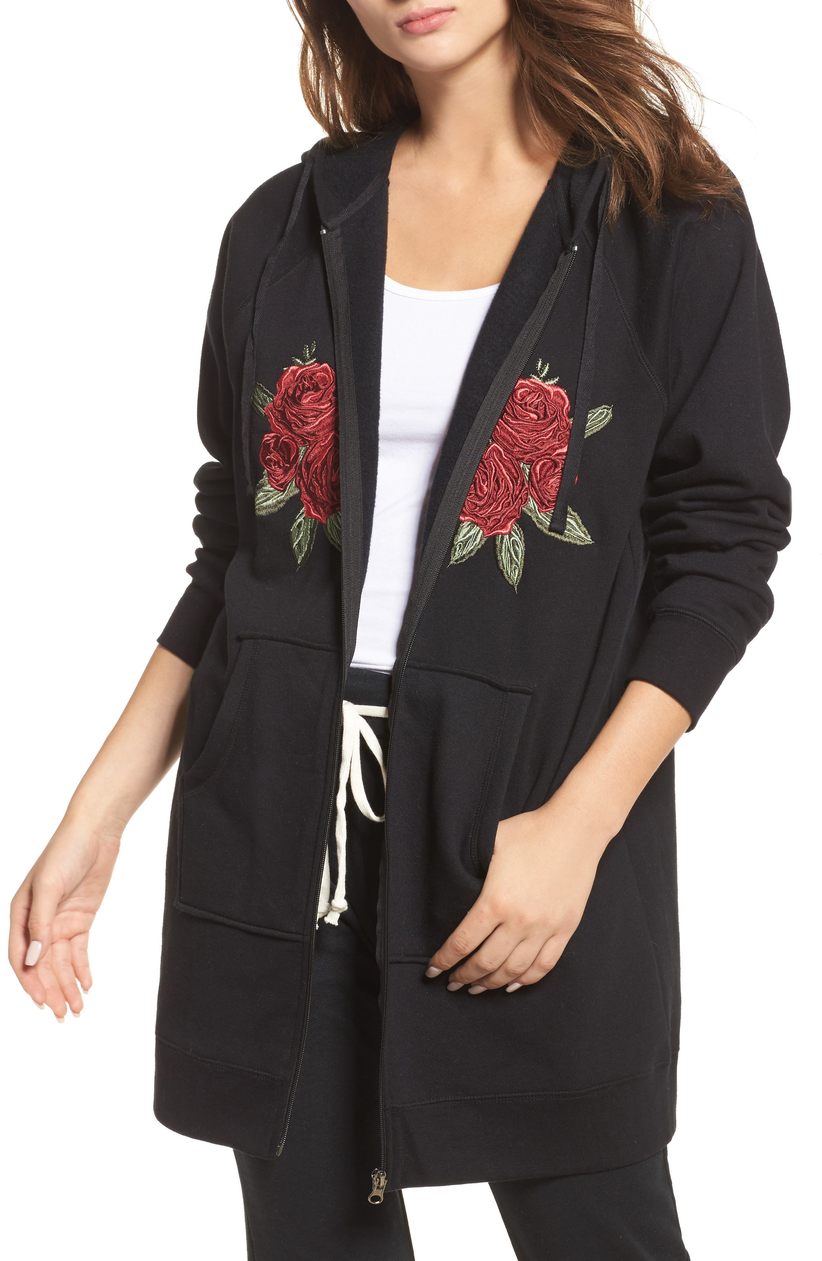 Brunette Embroidered Zip Hoodie,                         Main,                         color, Black White