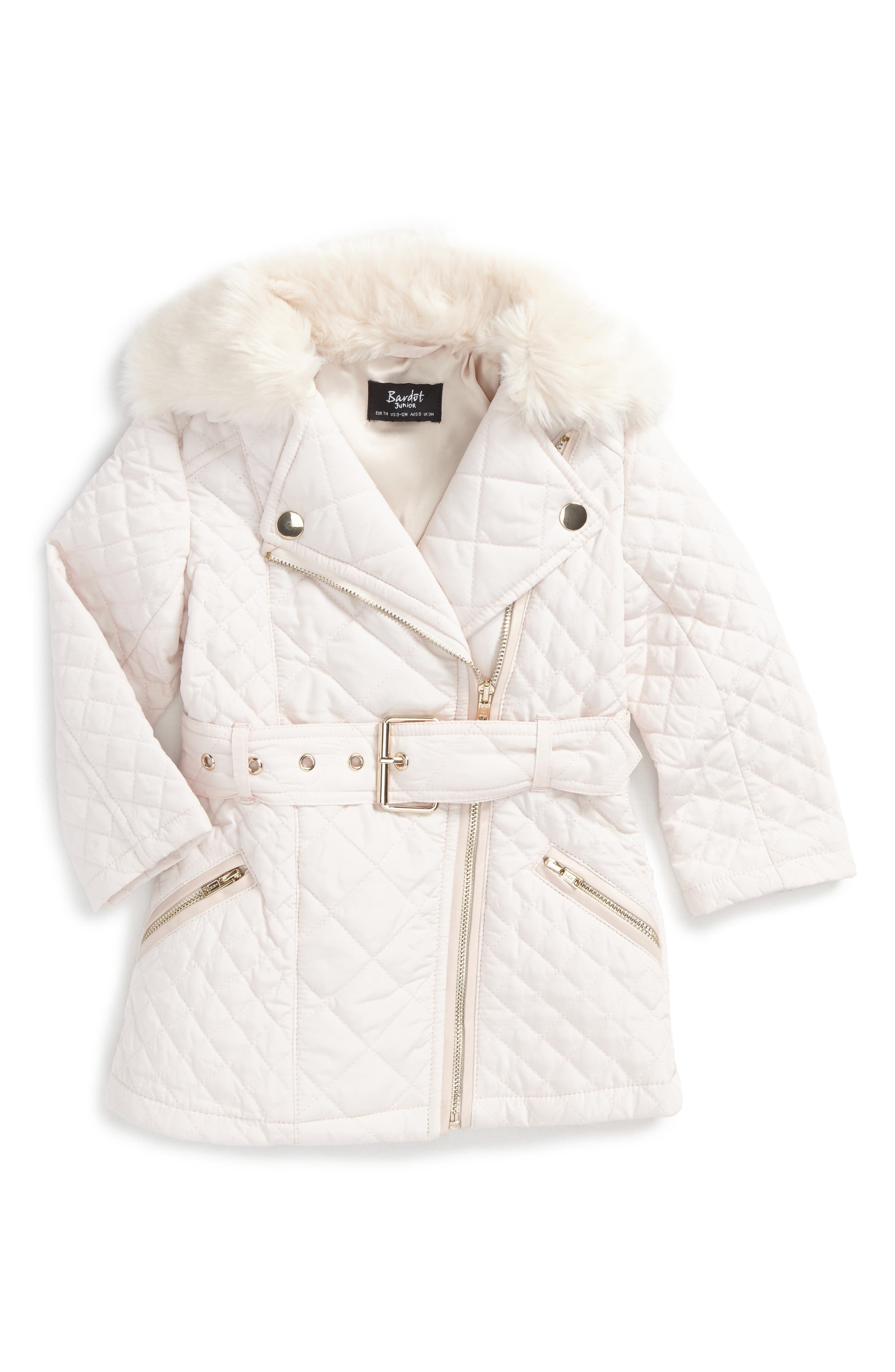 Quilted Jacket with Faux Fur Collar,                         Main,                         color, Cream Pink