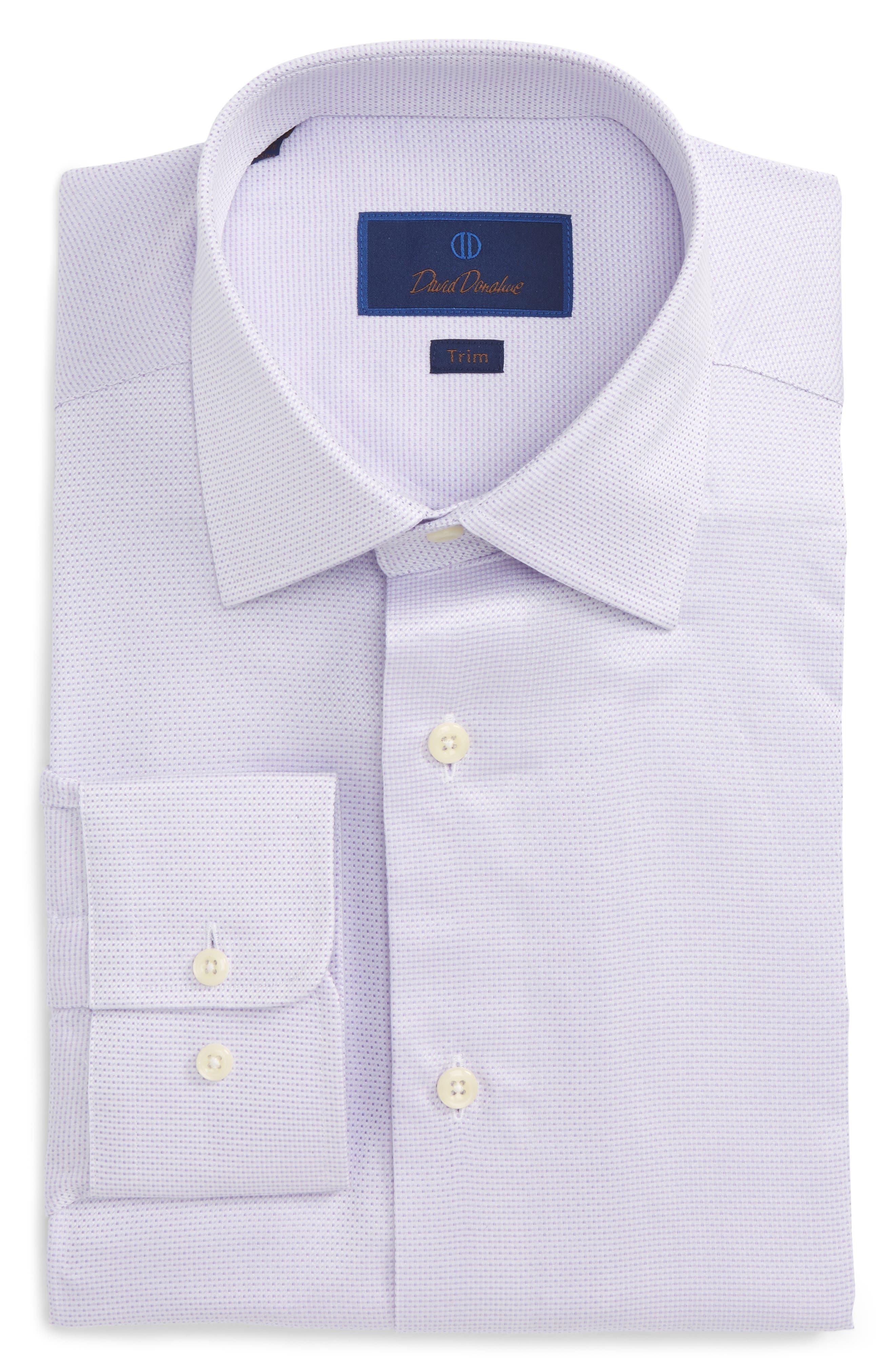 David Donahue Trim Fit Microdot Dress Shirt