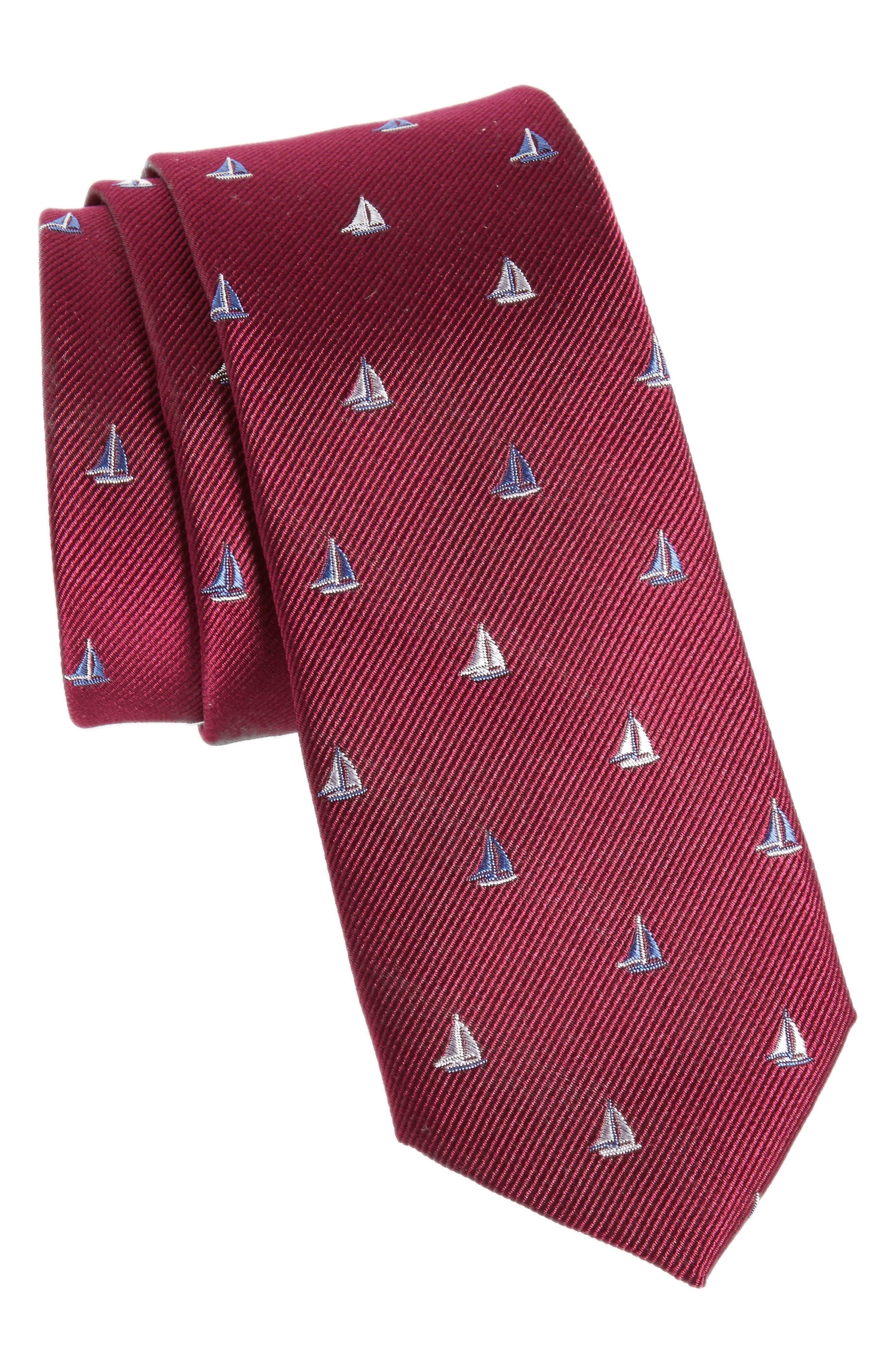 Sailboat Silk Skinny Tie,                         Main,                         color, Berry